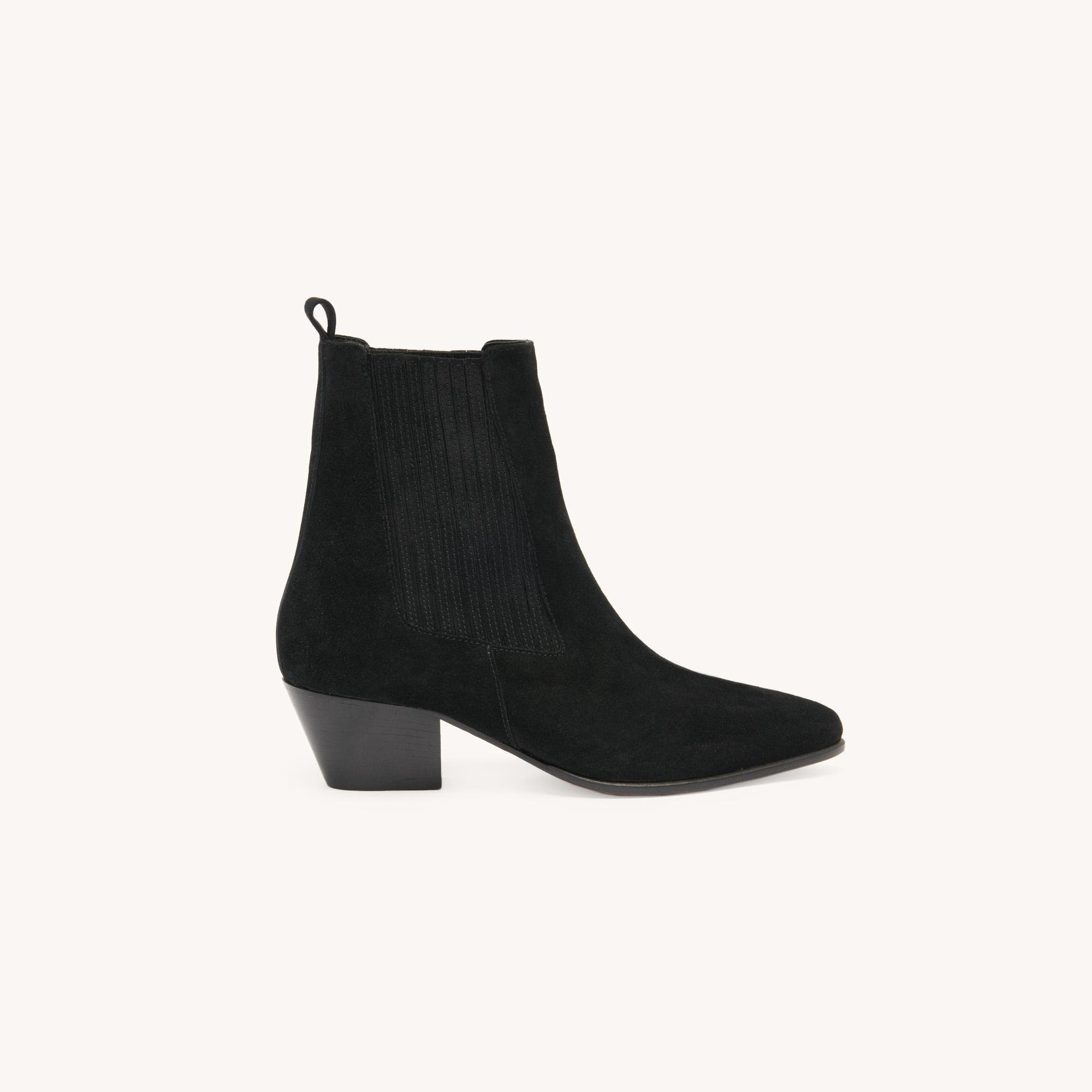 Leather ankle boots with elastic 1
