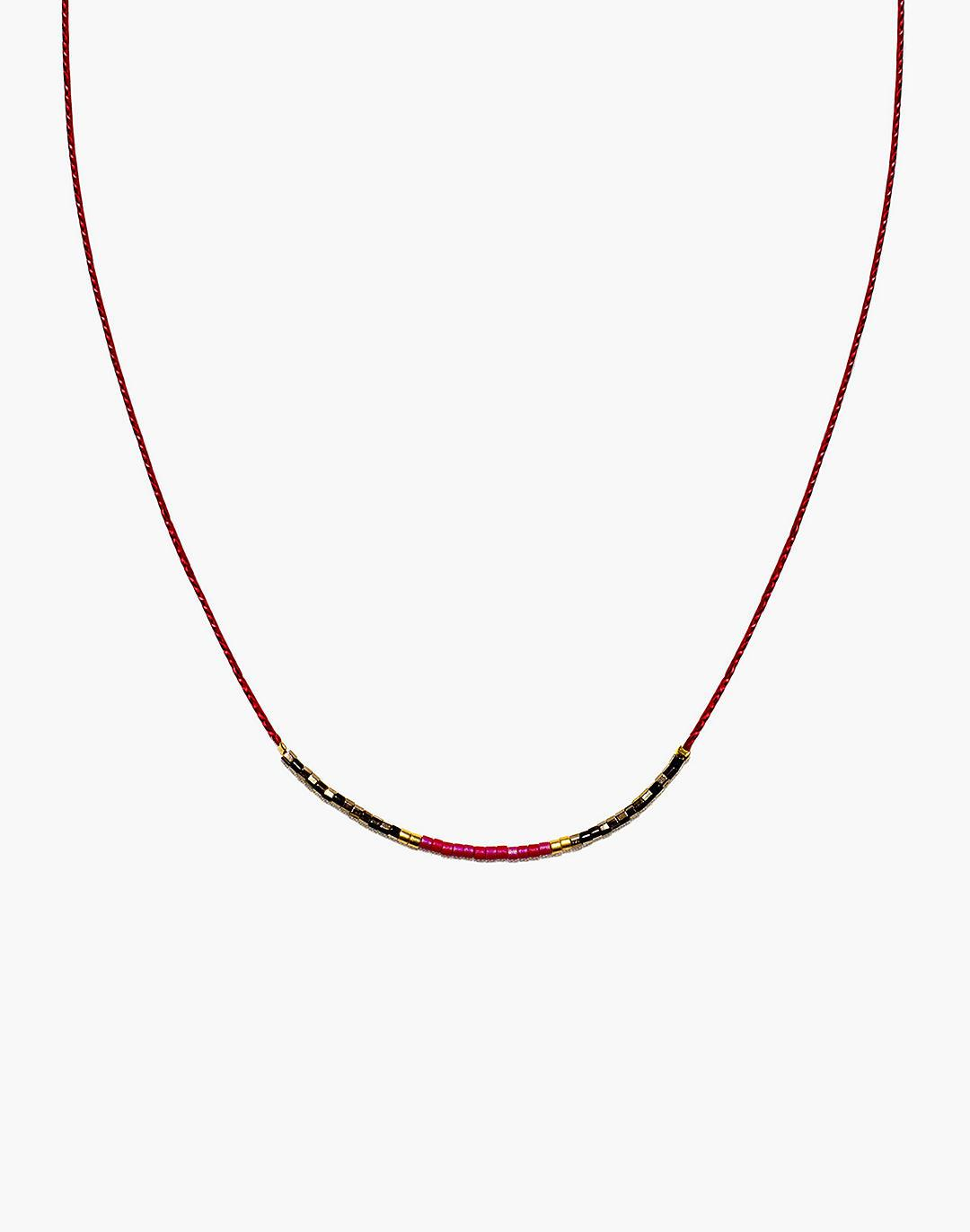 Cast of Stones Beaded Intention Necklace in Red and Metallic