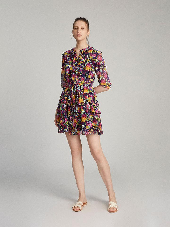 Tilly Ruffle Dress in Camellia print