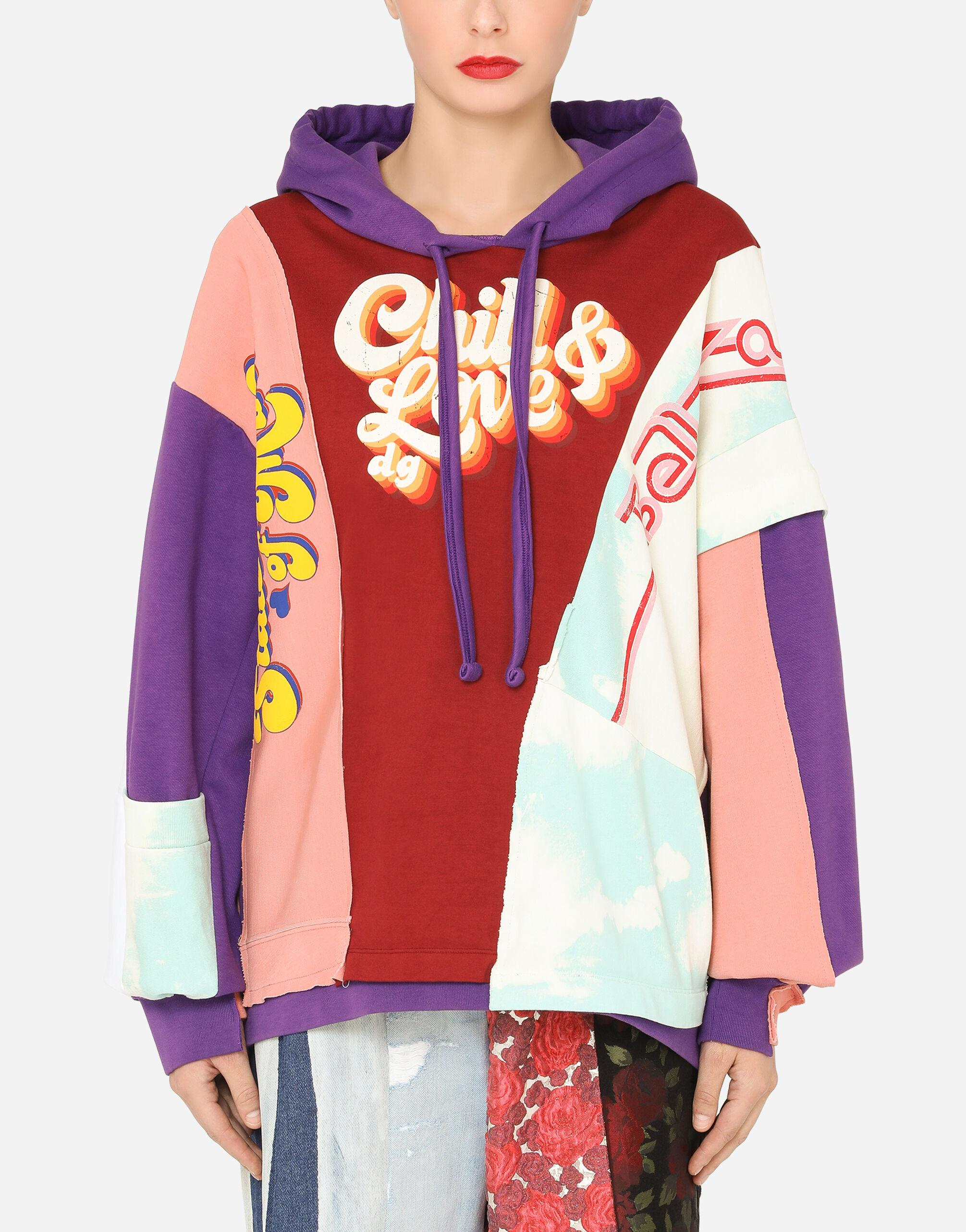 Patchwork jersey hoodie with chill & love DG print