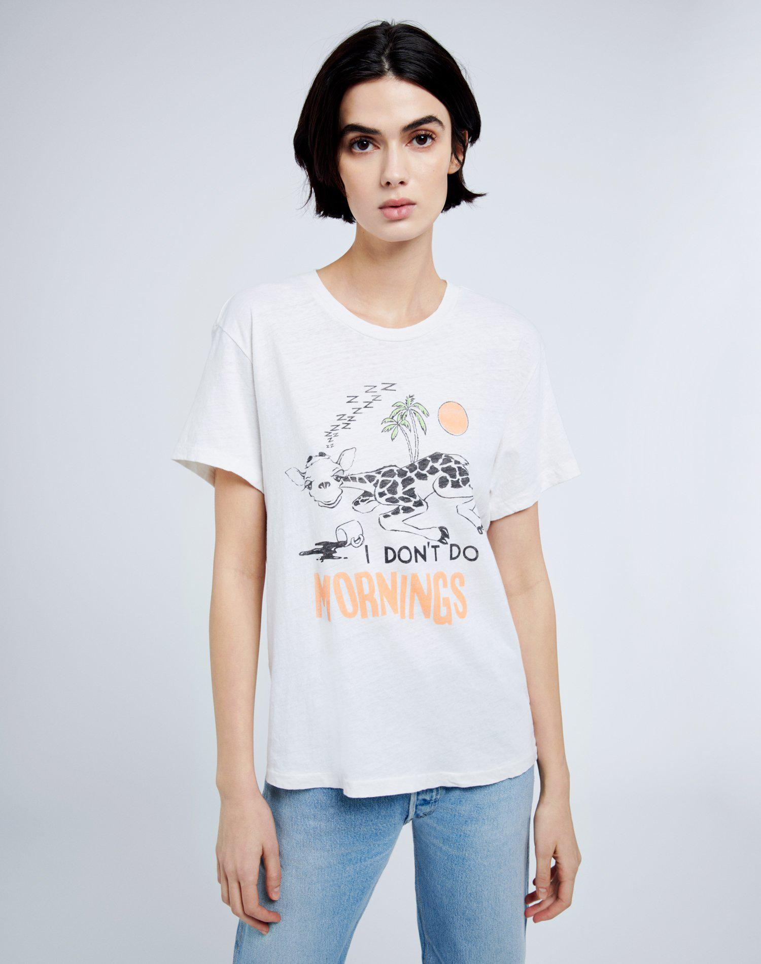 """70s Loose """"I Don't Do Mornings"""" Tee - Vintage White"""