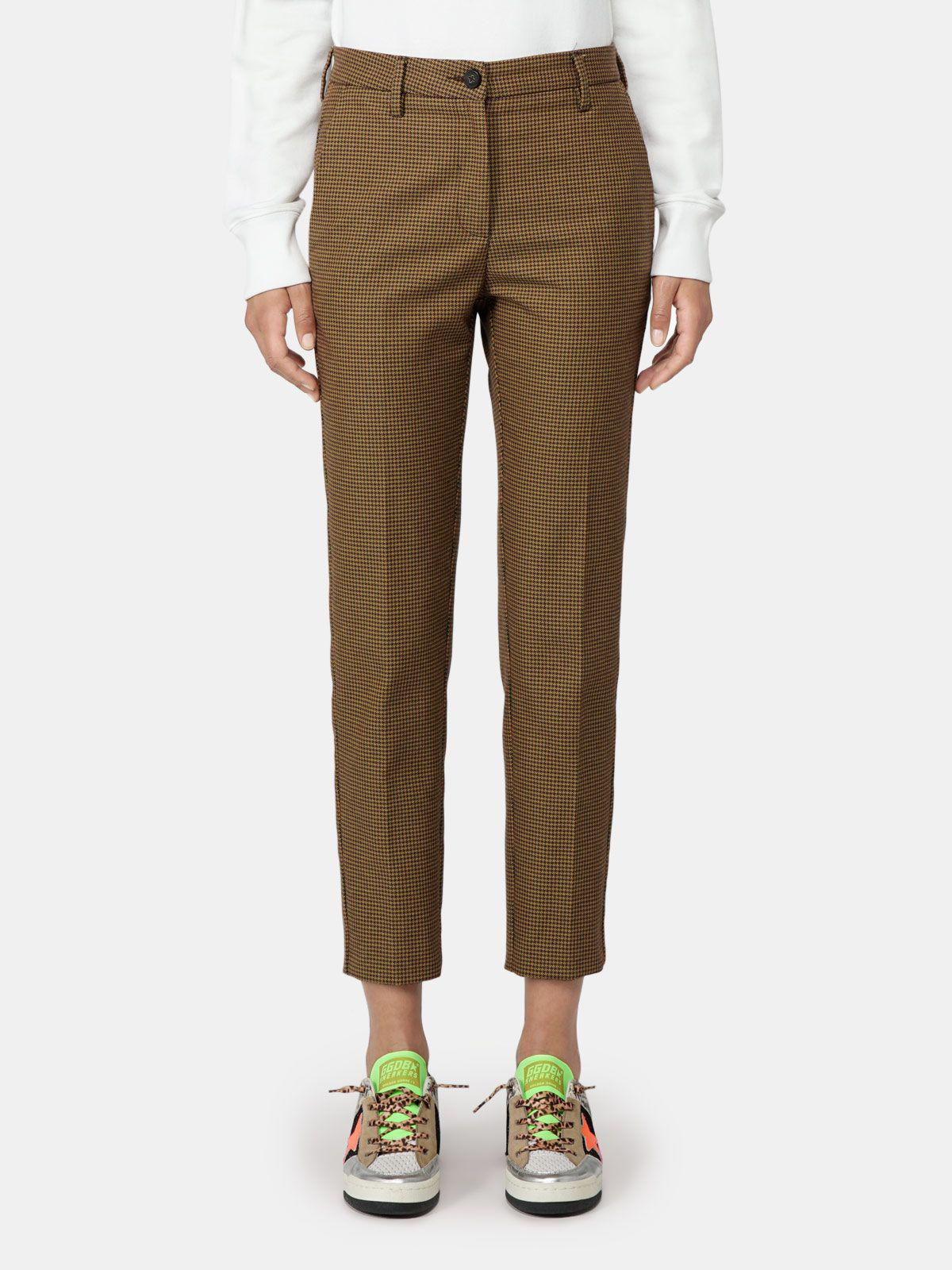 Algisa trousers with fluorescent houndstooth pattern