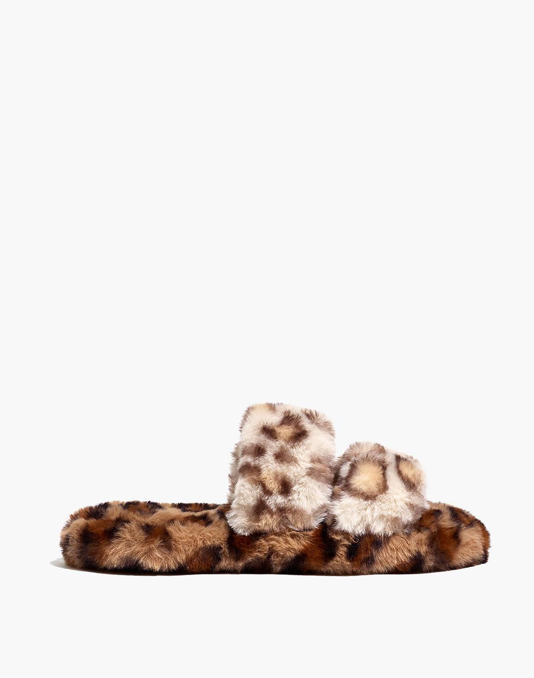 Two-Strap Scuff Slippers in Leopard Recycled Faux Fur 1