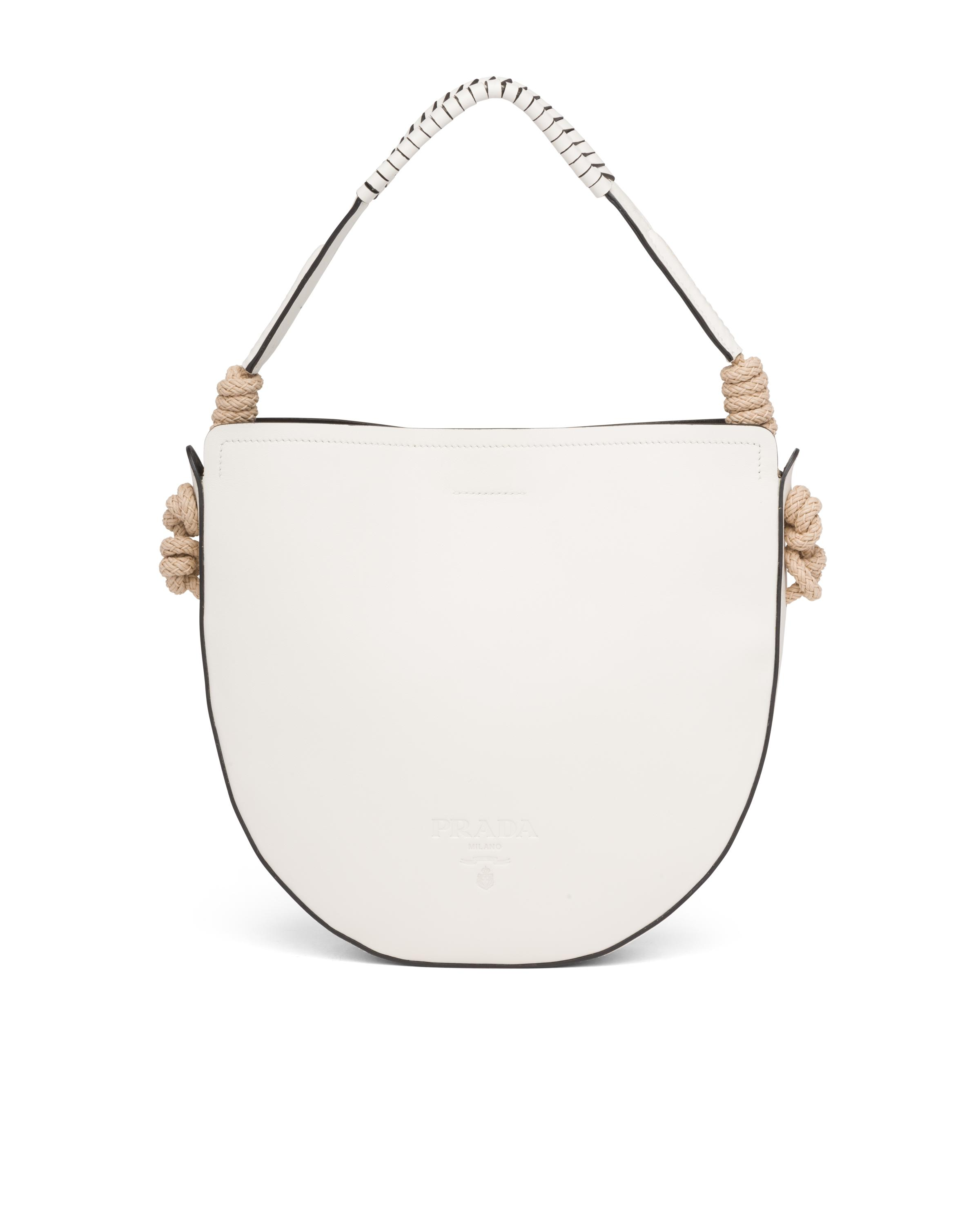 Leather Bag With Cord Details Women White/black 7