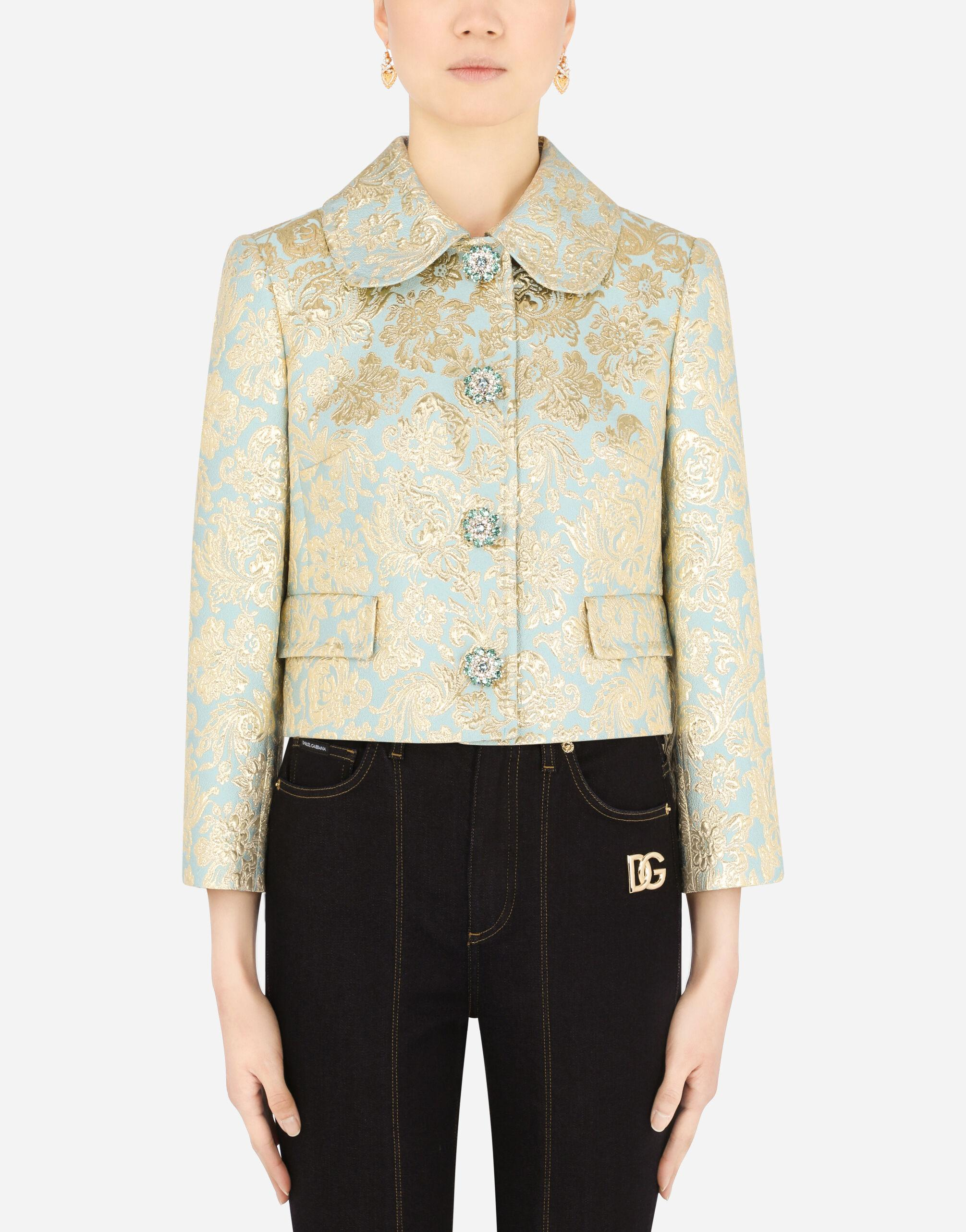 Cropped lamé jacquard jacket with bejeweled buttons