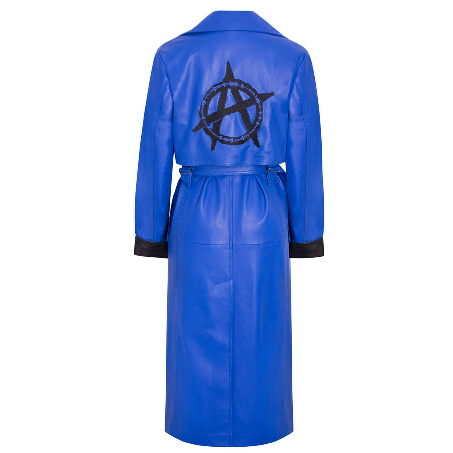 'Sky' Leather Trench Coat with Embroidery 1