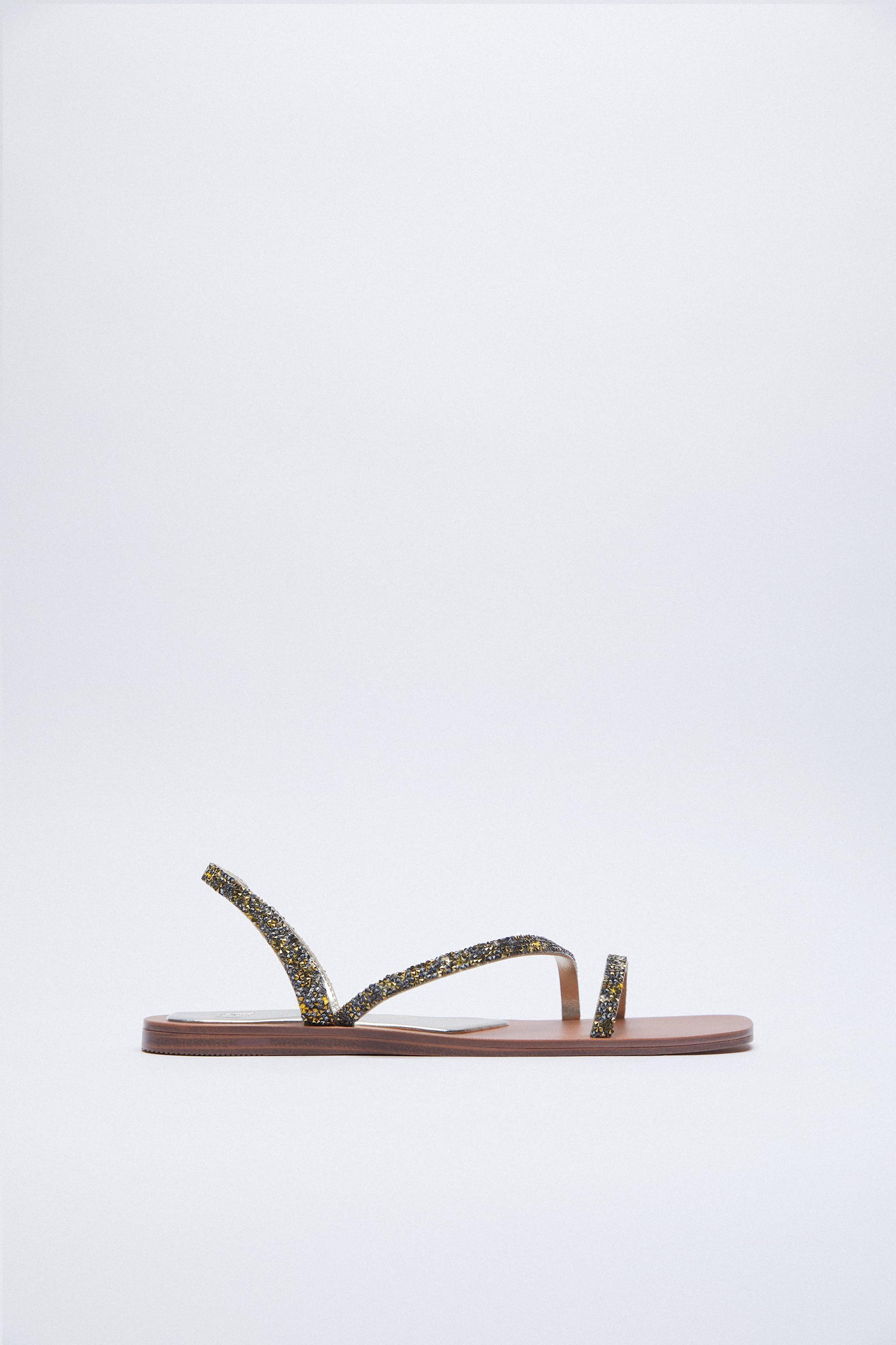 SPARKLY LOW HEELED SANDALS 0