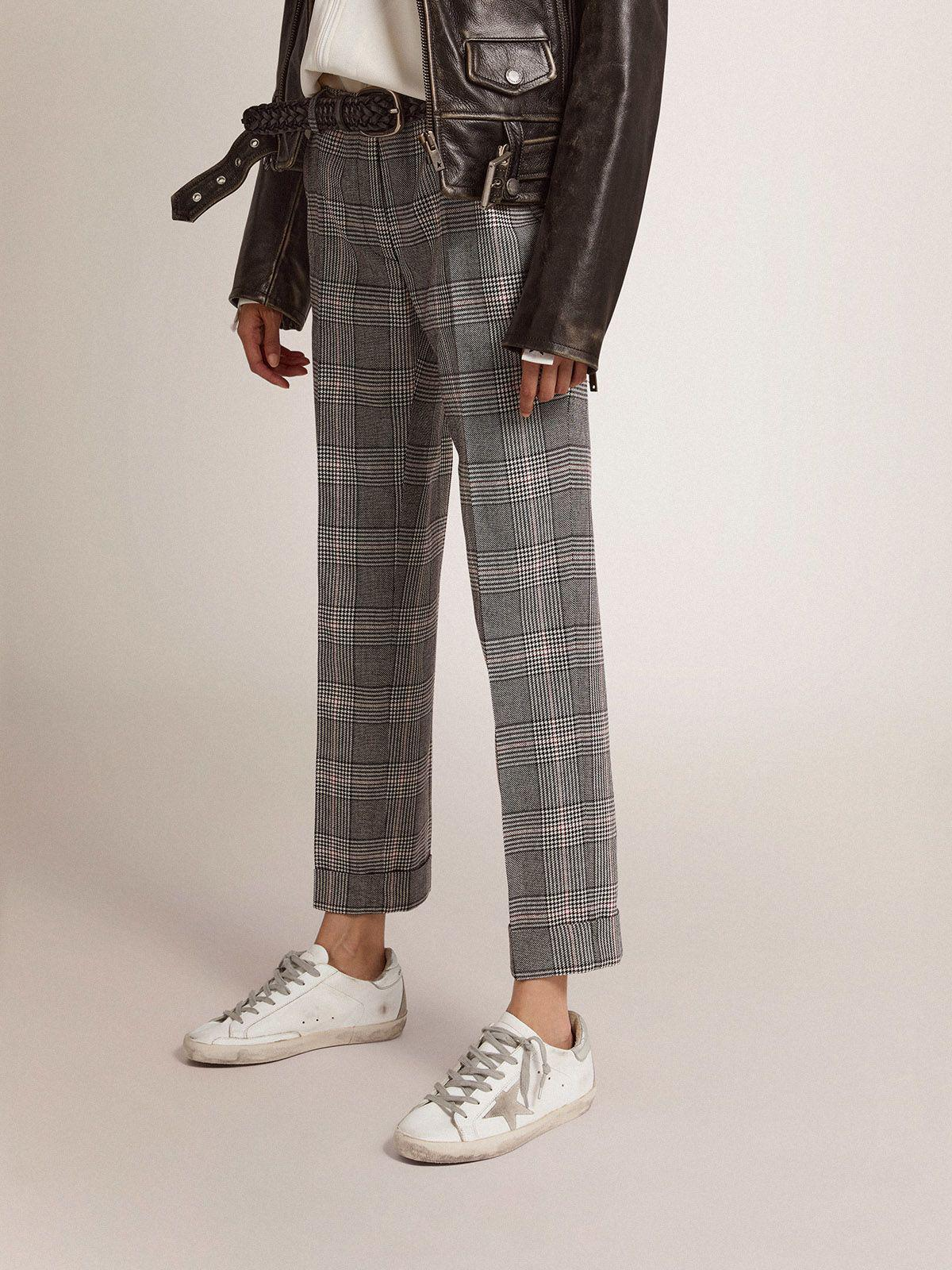 Golden Collection cigarette pants in gray and white Prince of Wales check