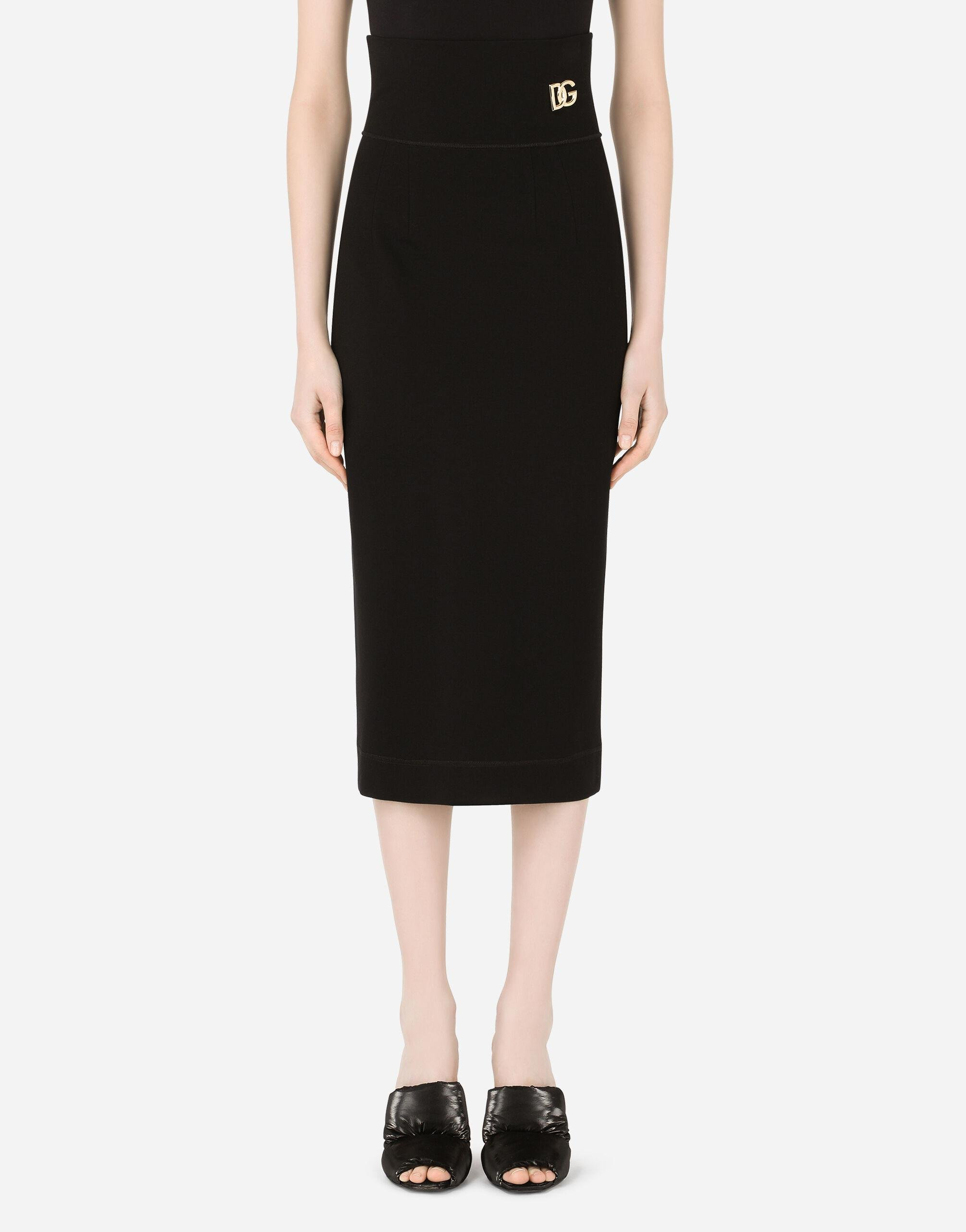 Jersey pencil skirt with DG embellishment