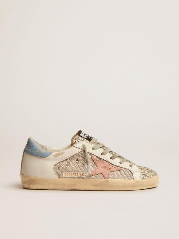 Super-Star LTD sneakers in white leather with mesh insert and silver glitter tongue