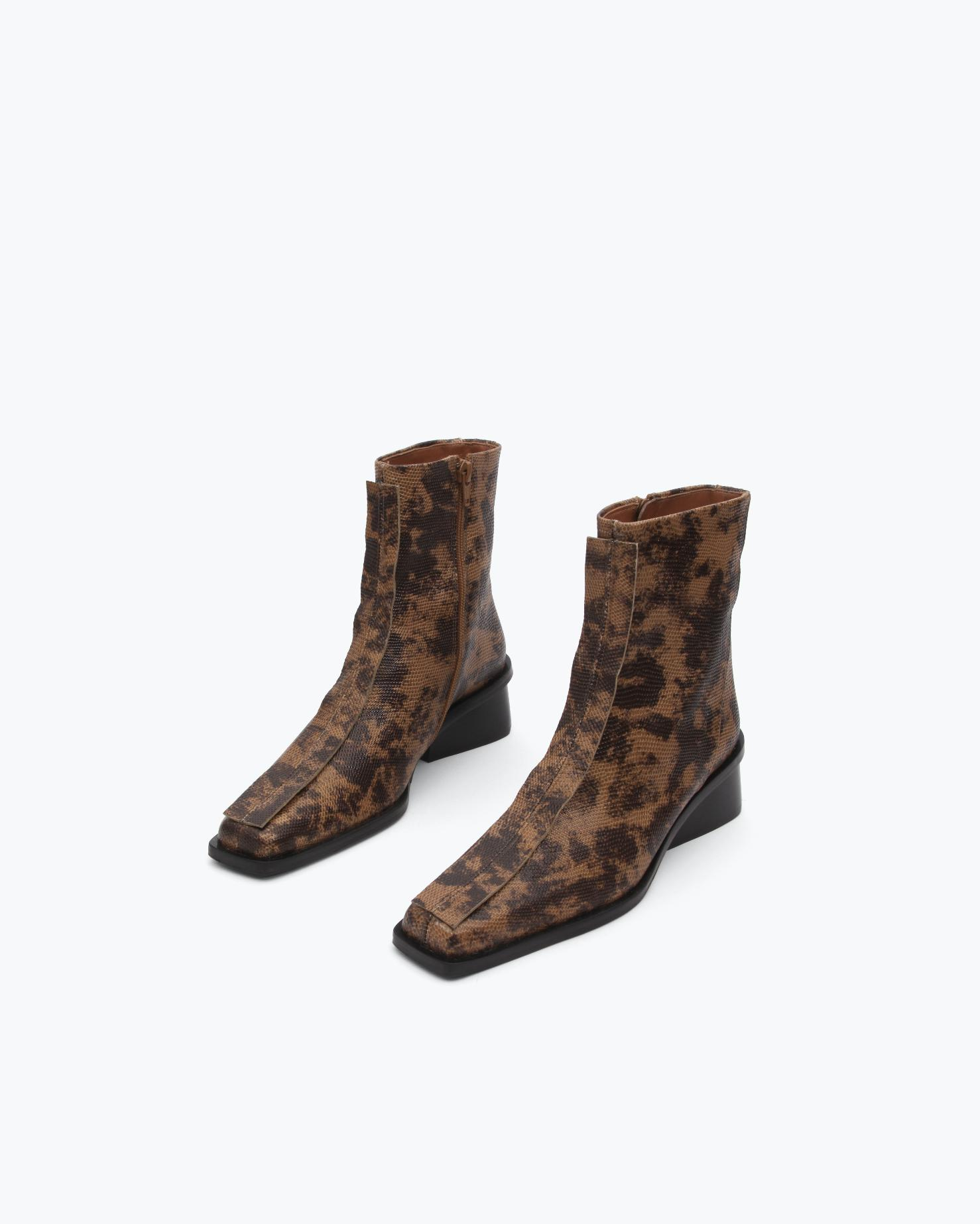 Miki Boots Leather Lizard Natural 1