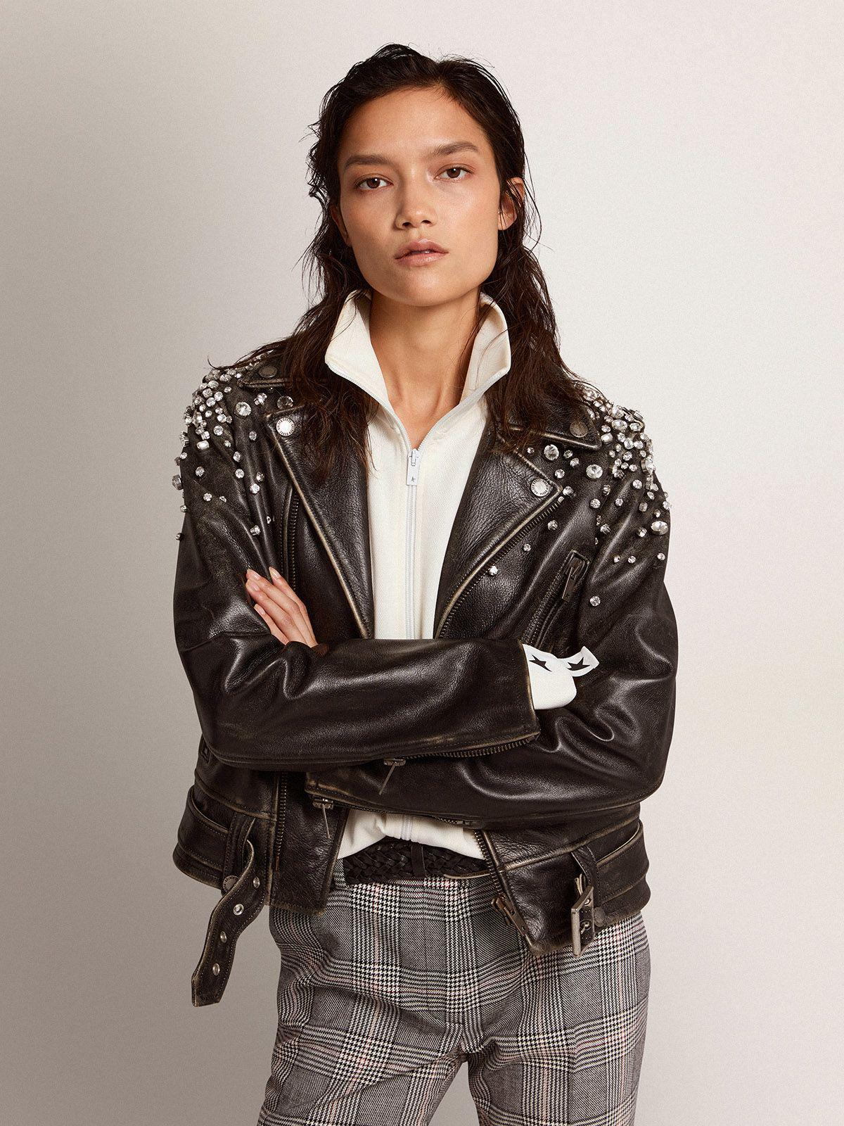 Golden Collection leather biker jacket with distressed treatment and cabochon crystals