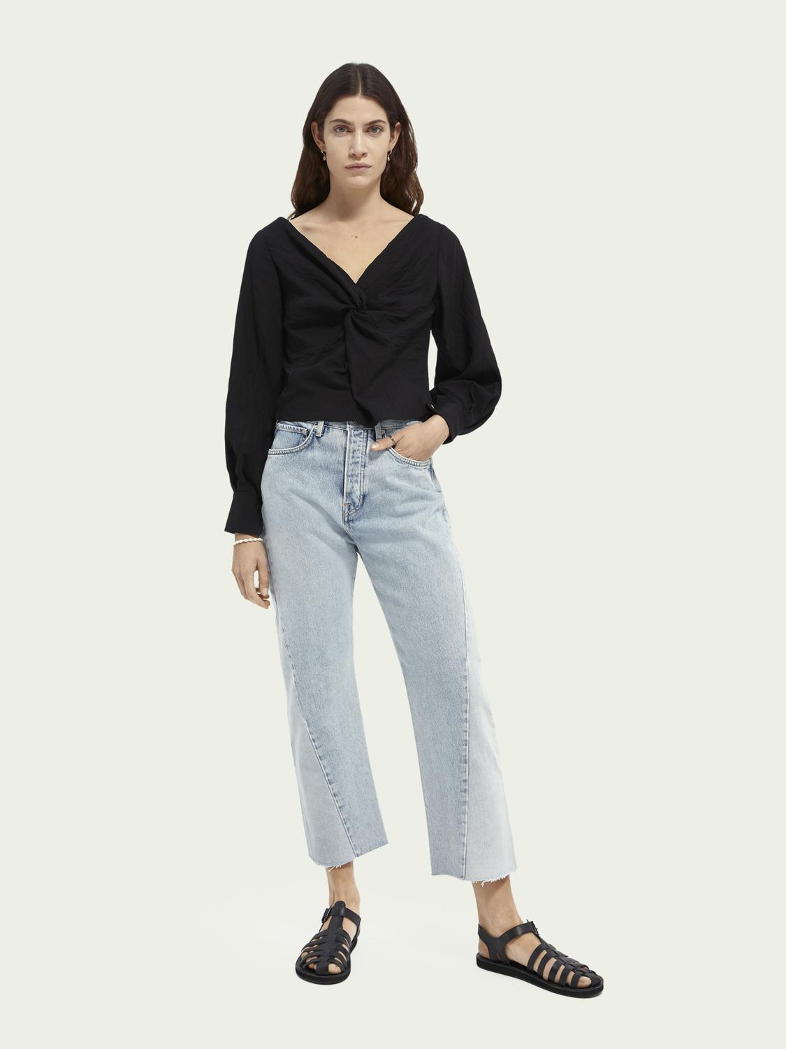 V-neck knotted top 1