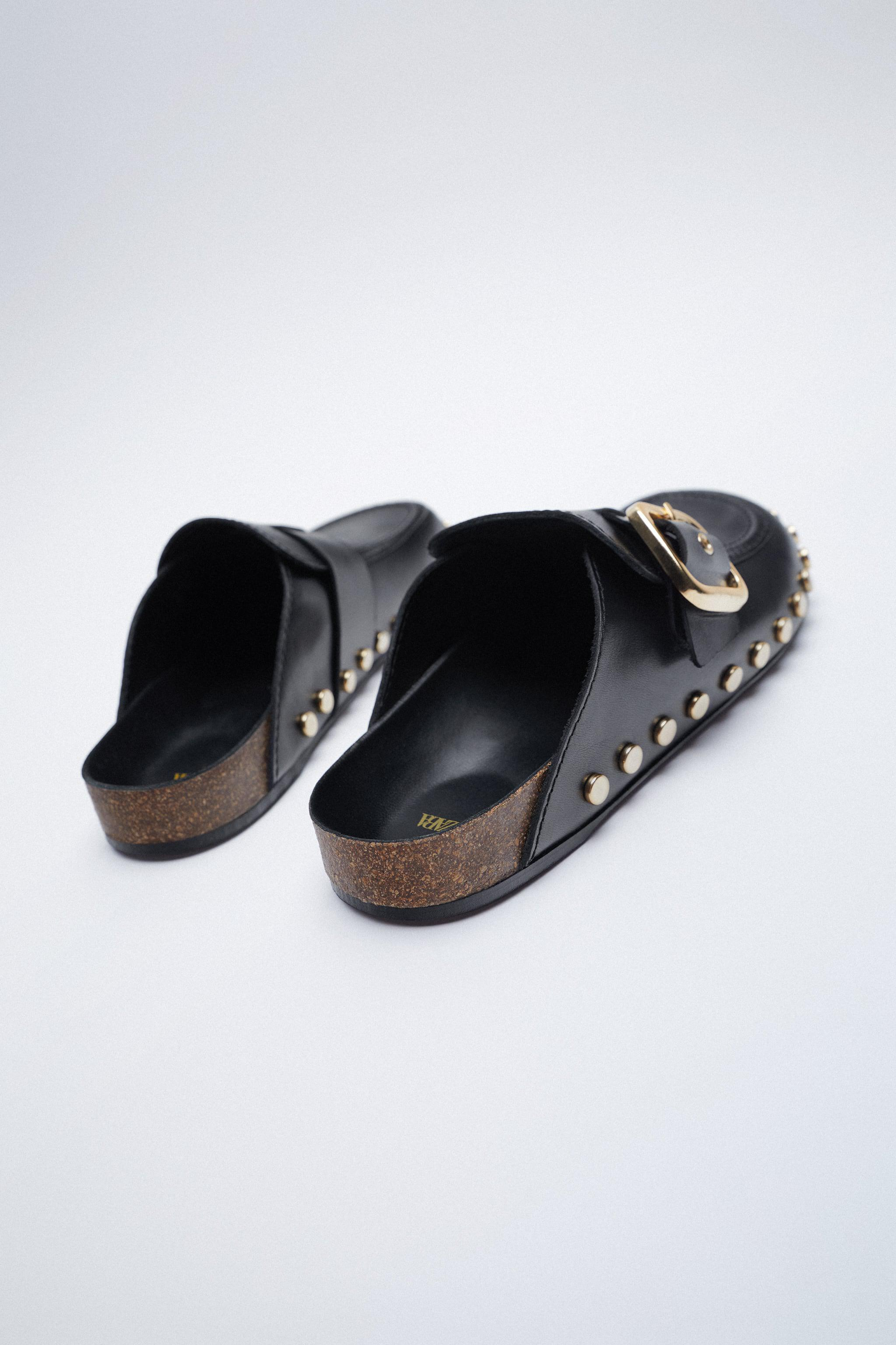 LOW HEEL LEATHER CLOGS WITH STUDS 5
