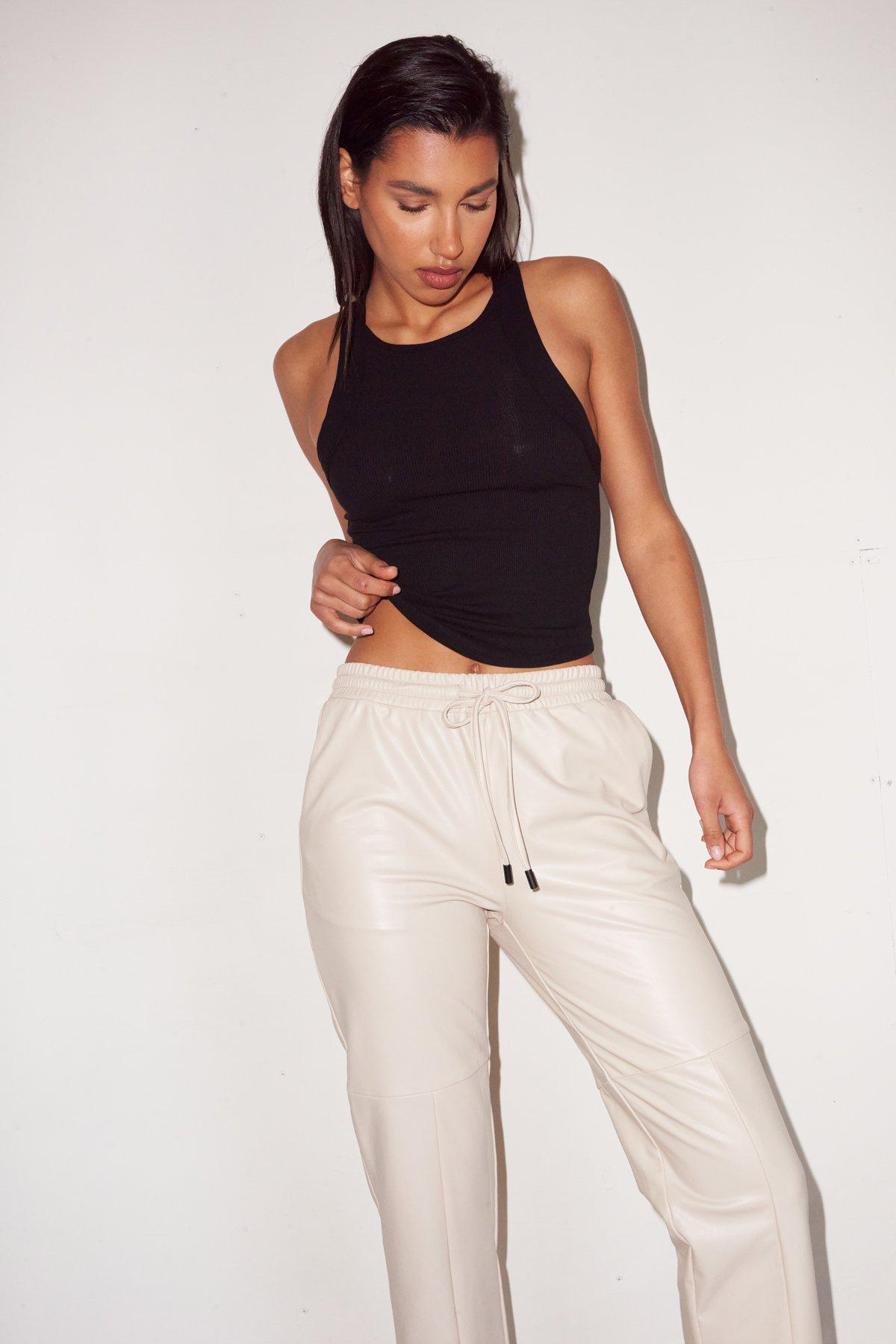 Faux Leather Pull On Pant - Bone 1