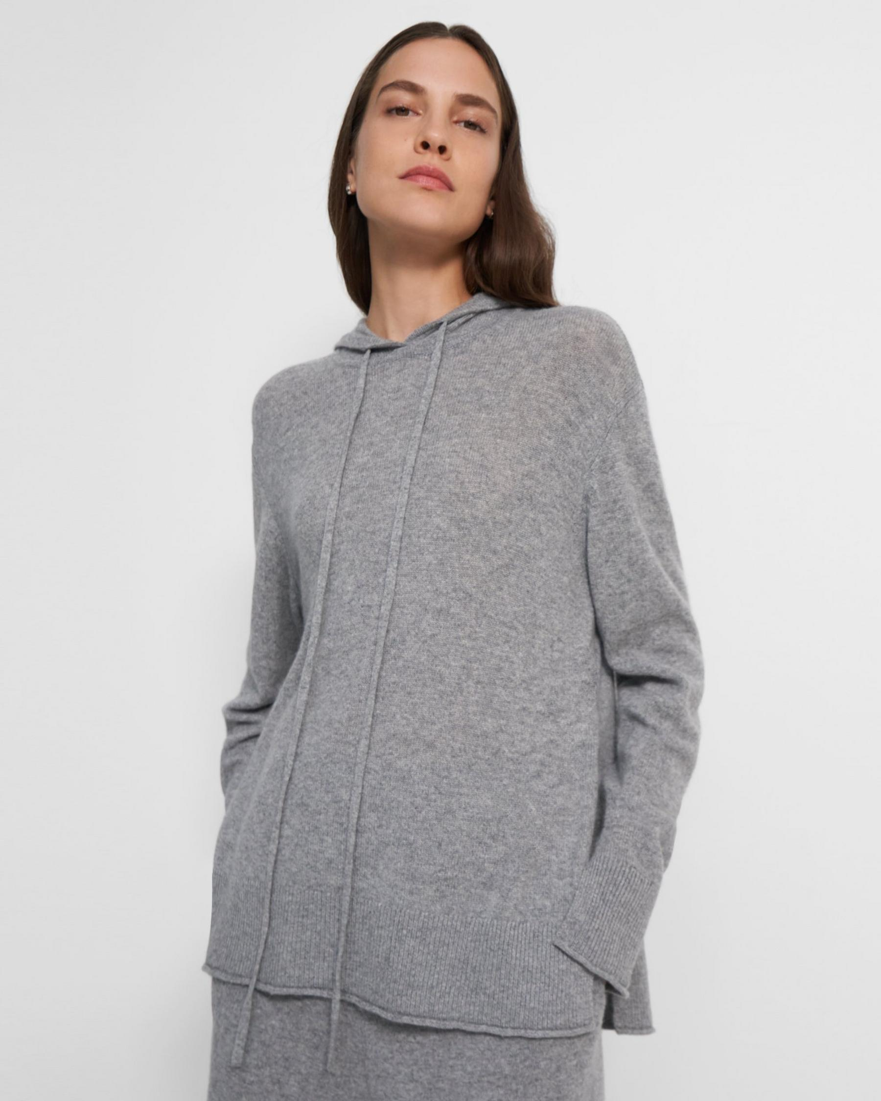 High-Slit Hoodie in Cashmere