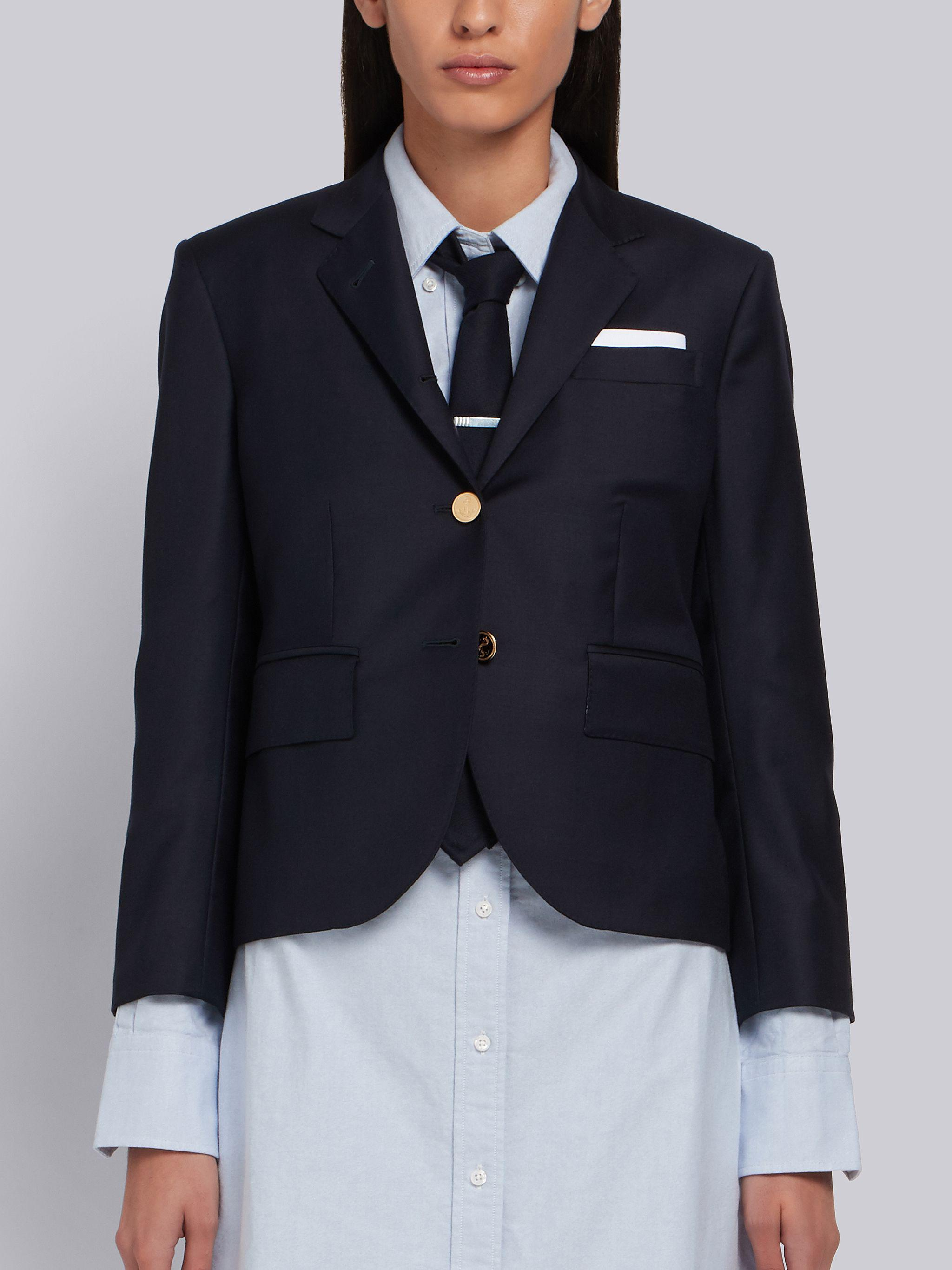 Navy Wool Twill Single Breasted High Armhole Sport Coat 0