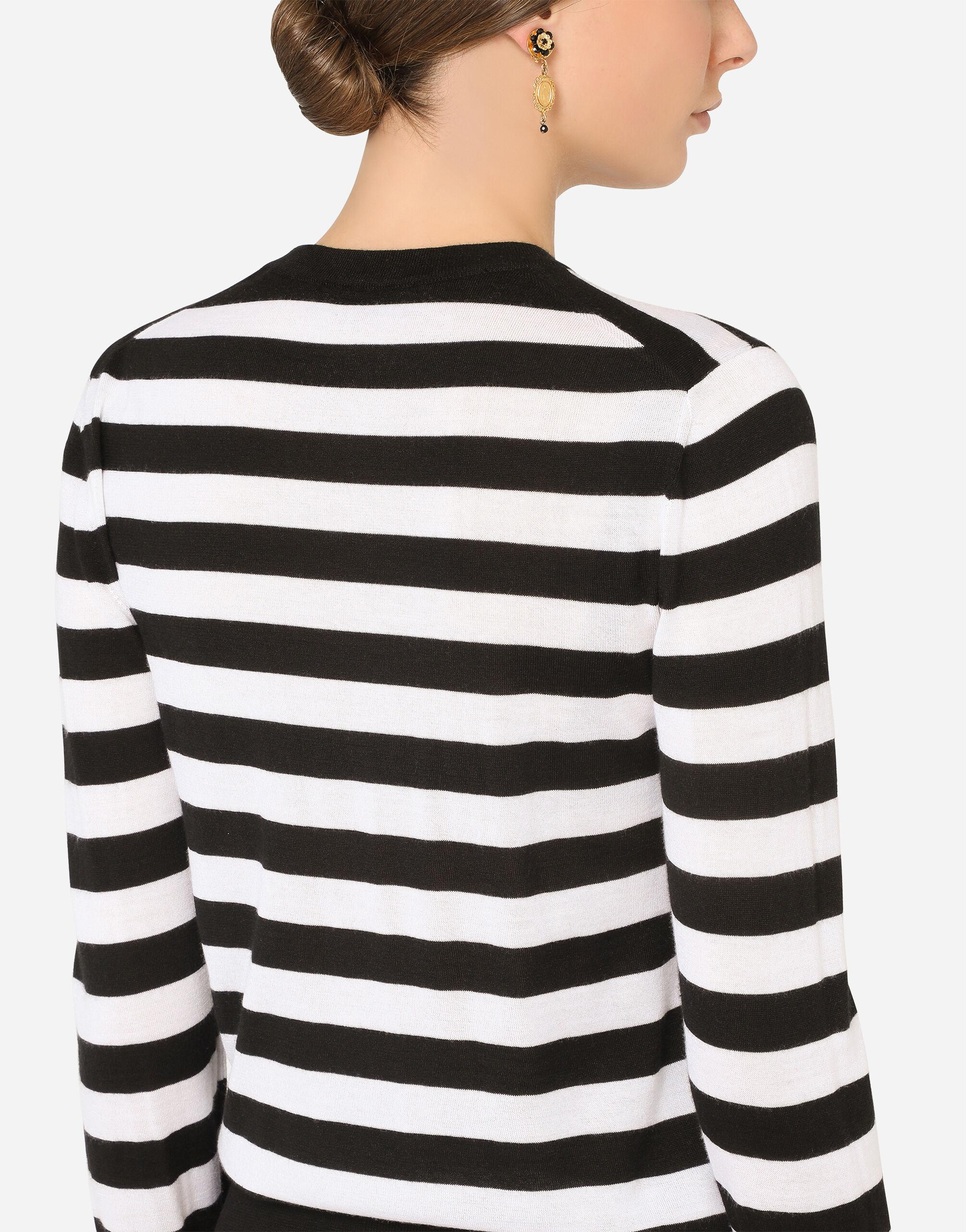 Striped crew-neck sweater in silk and cashmere with logo detail 3