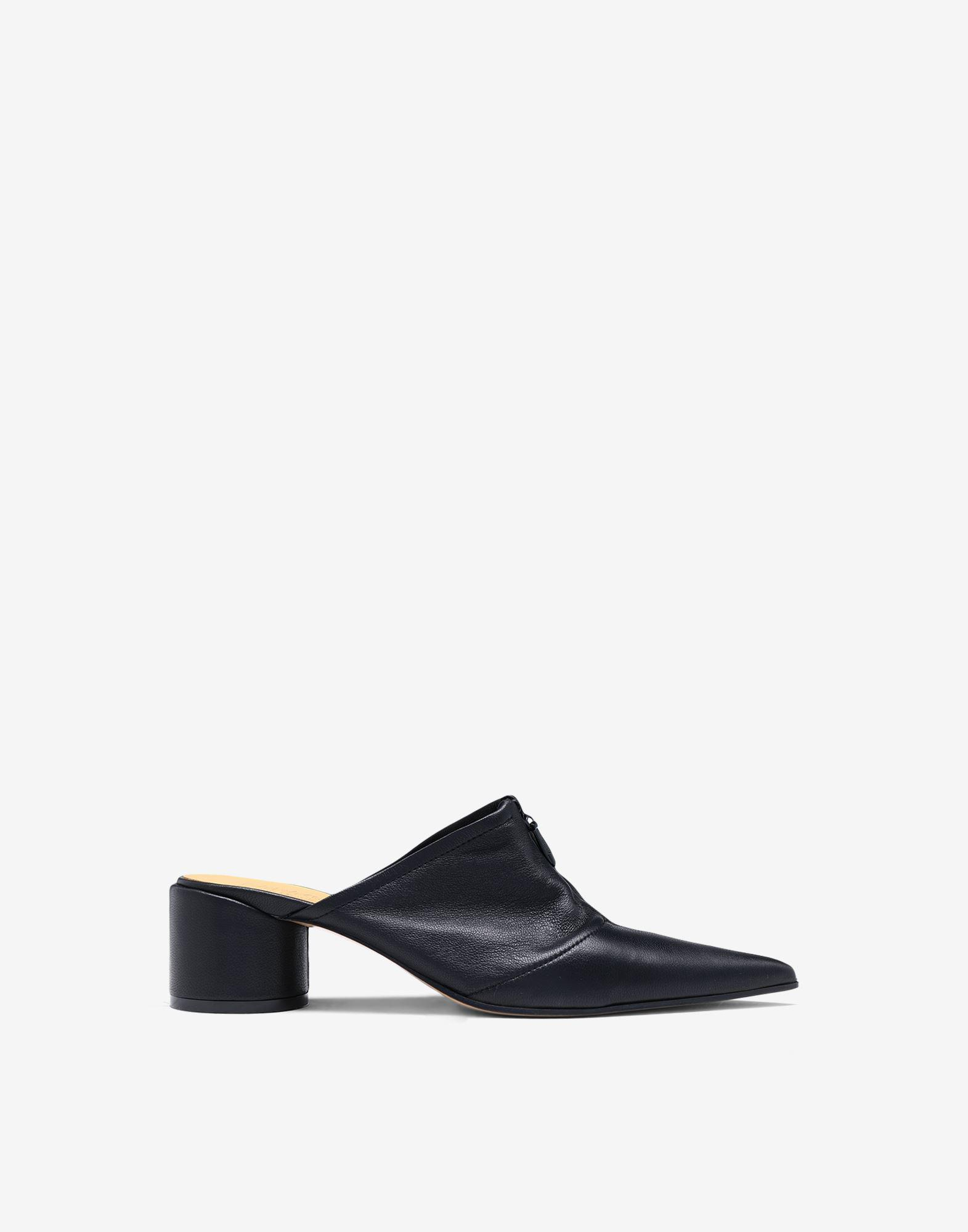 Zip leather mules