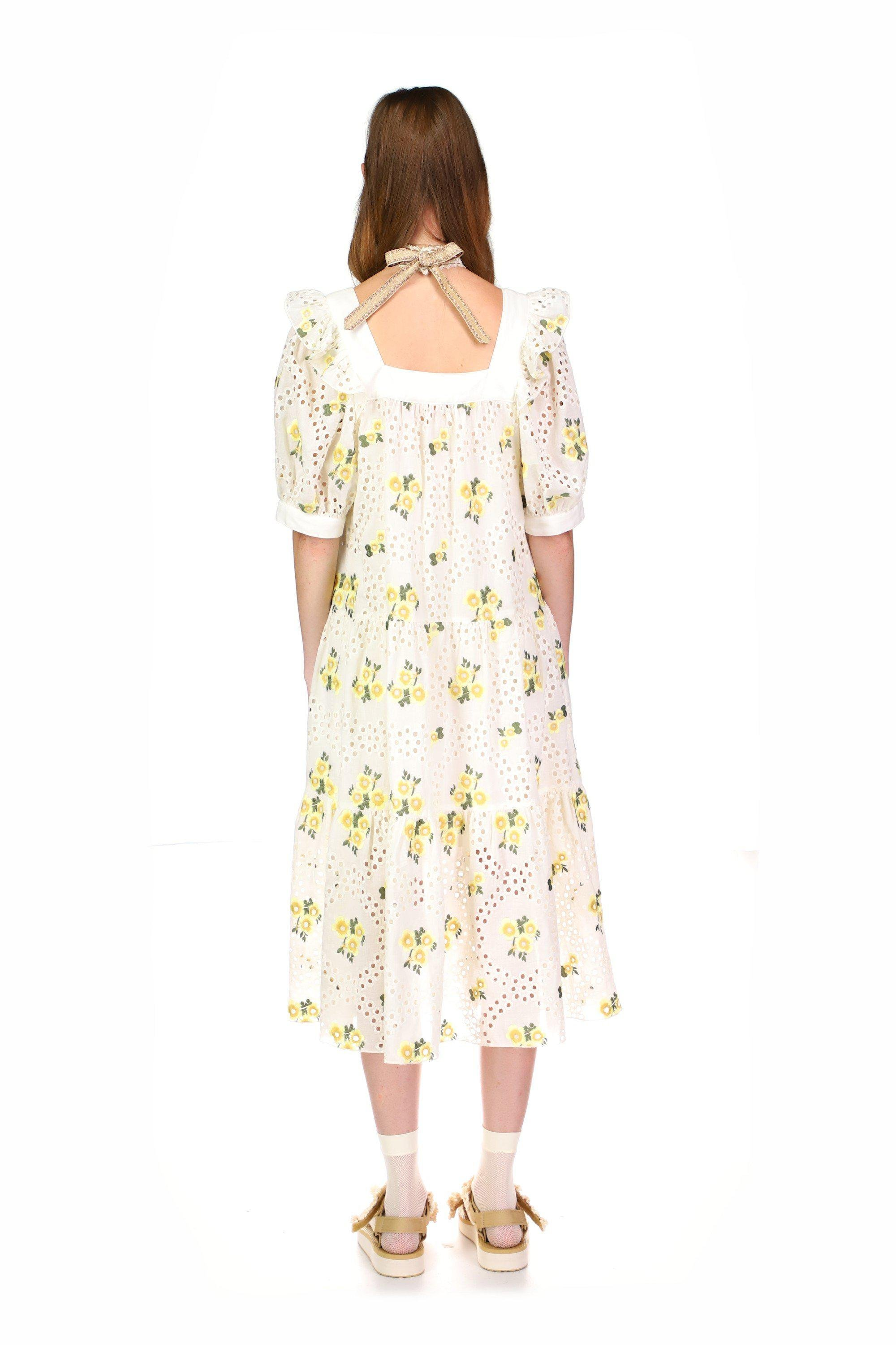 Pansy Eyelet Embroidered Puff Sleeve Dress 3