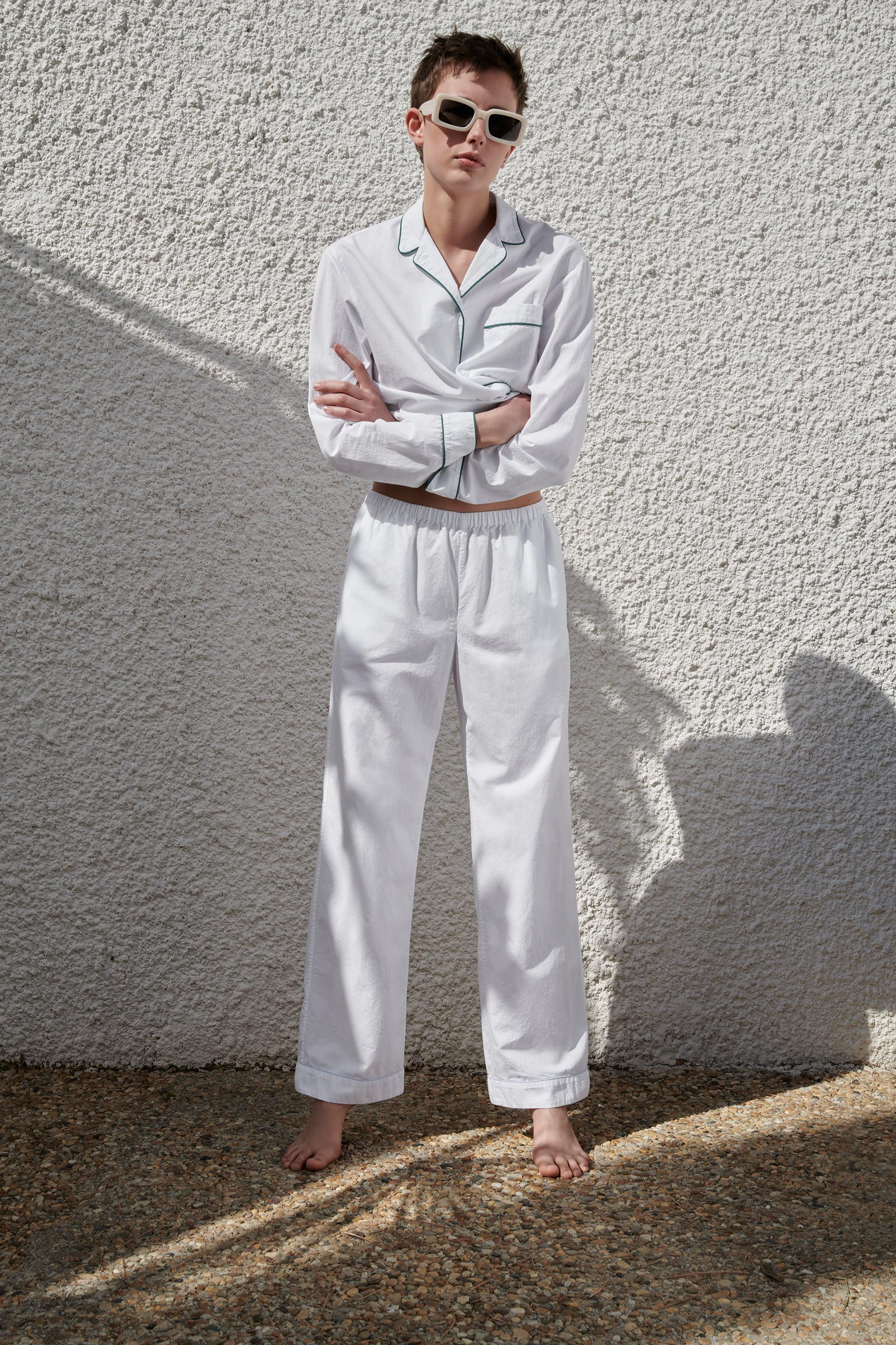 PIPED COTTON PANTS