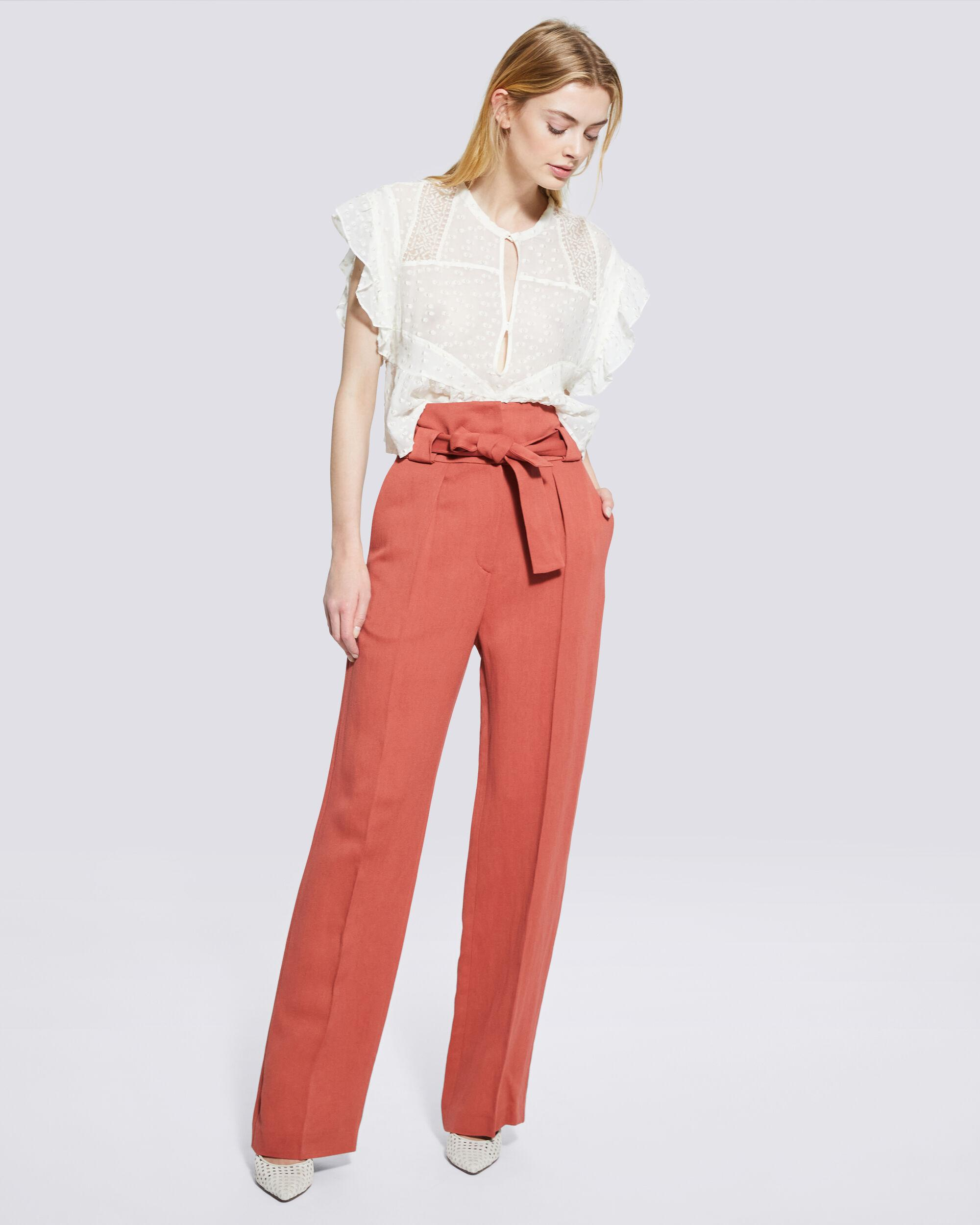 APOLLONIA BELTED WIDE LEG TROUSERS