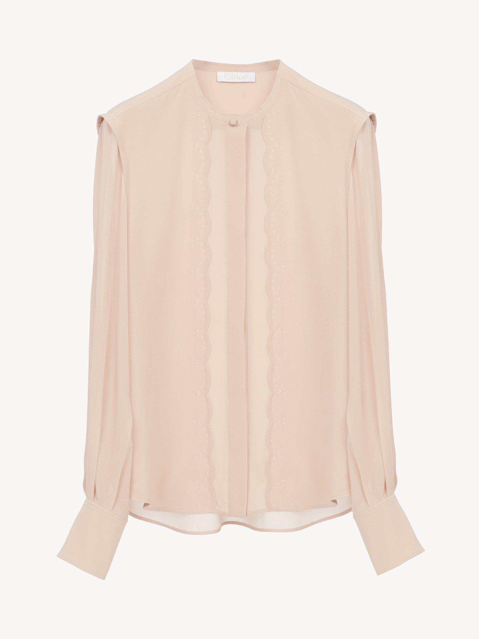 SCALLOP-EMBROIDERED BLOUSE