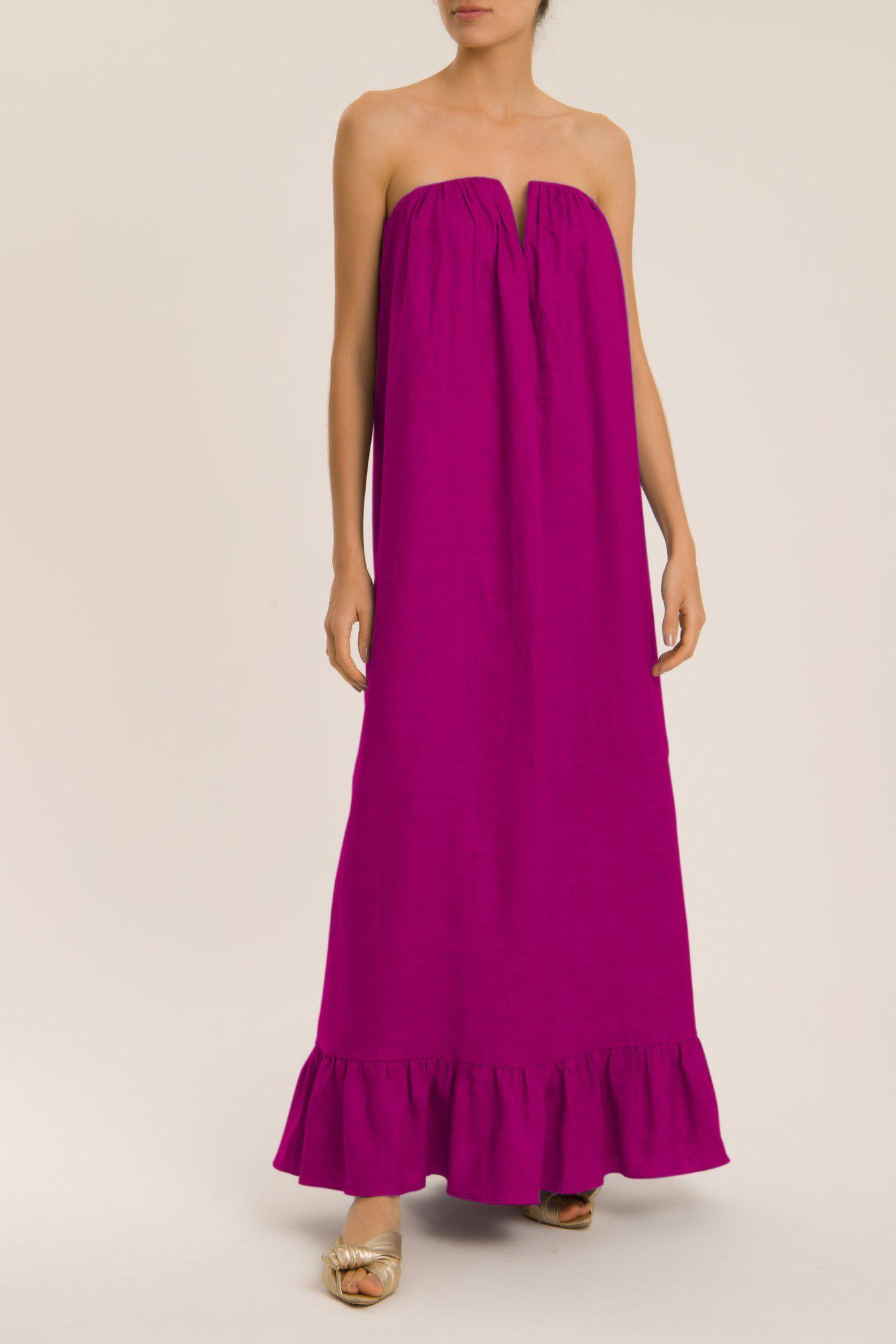 Solid Strapless Long Dress