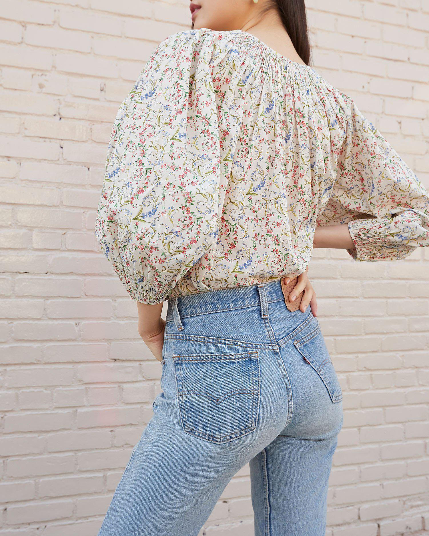 Lucia Romance Floral Smocked Blouse 2