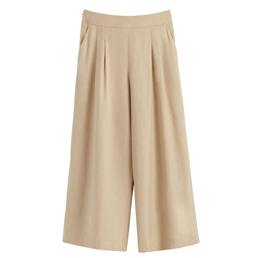 Women's Linen Wide-Leg Cropped Pant in Natural | Size: