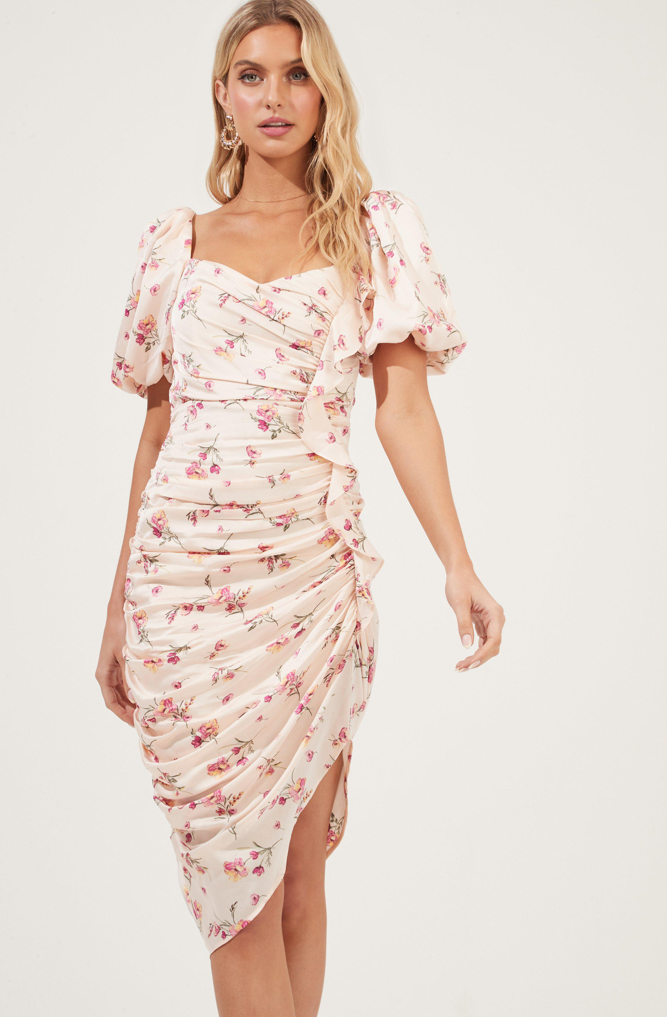 Cinched Ruffle Front Short Sleeve Dress