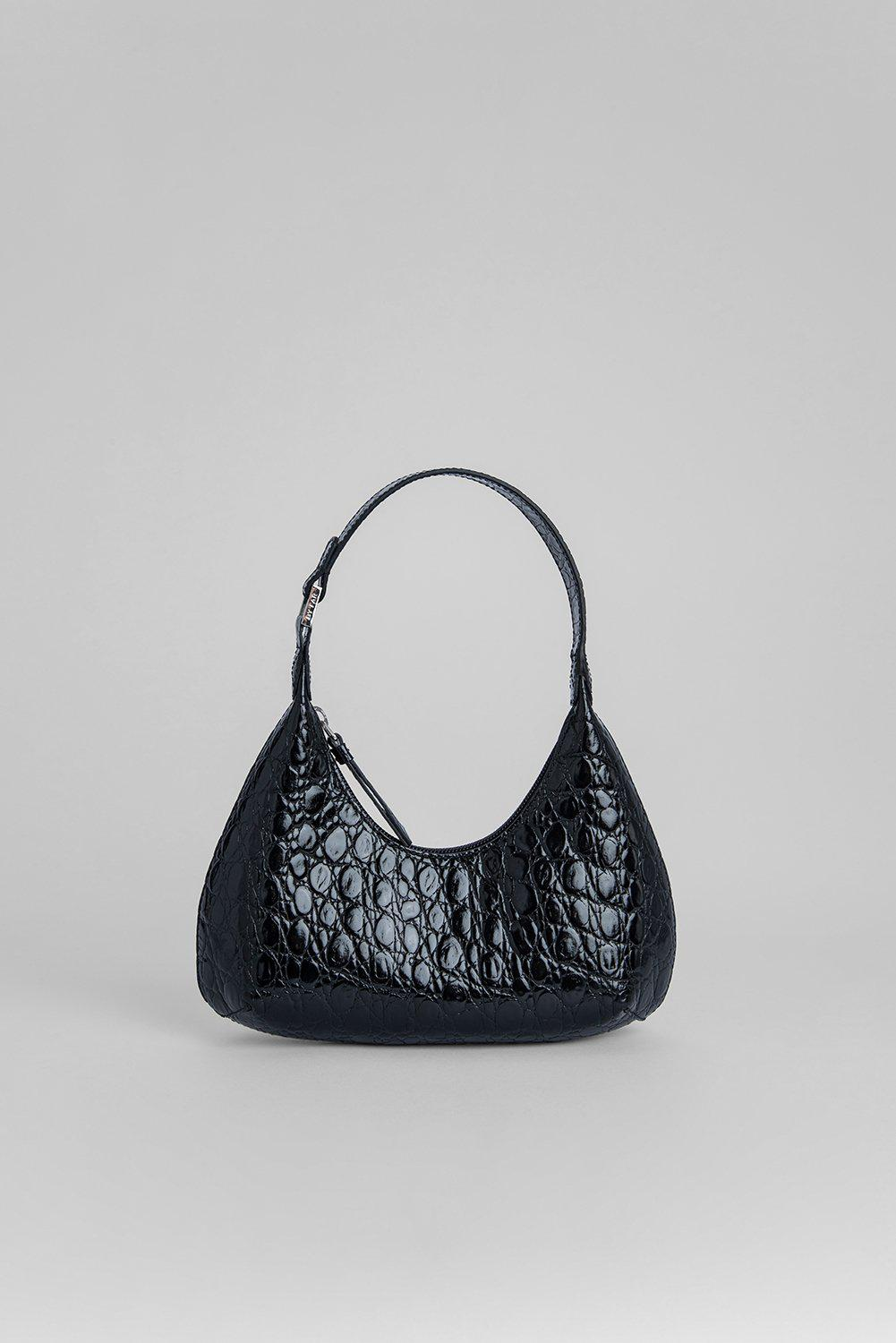 Baby Amber Black Circular Croco Embossed Leather
