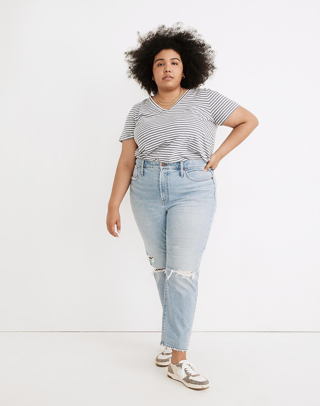 The Plus Perfect Vintage Jean in Grandbay Wash: Destructed Edition