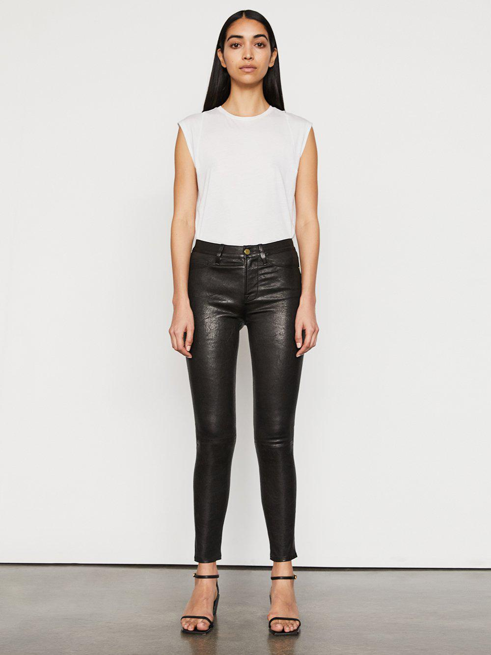 Leather Le High Skinny -- Washed Black 1