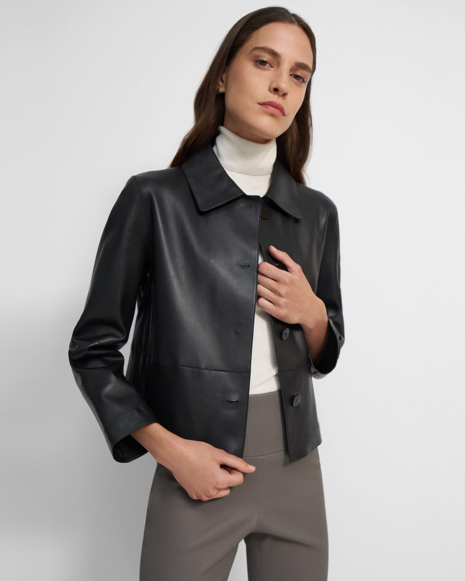 Cropped Piazza Jacket in Leather