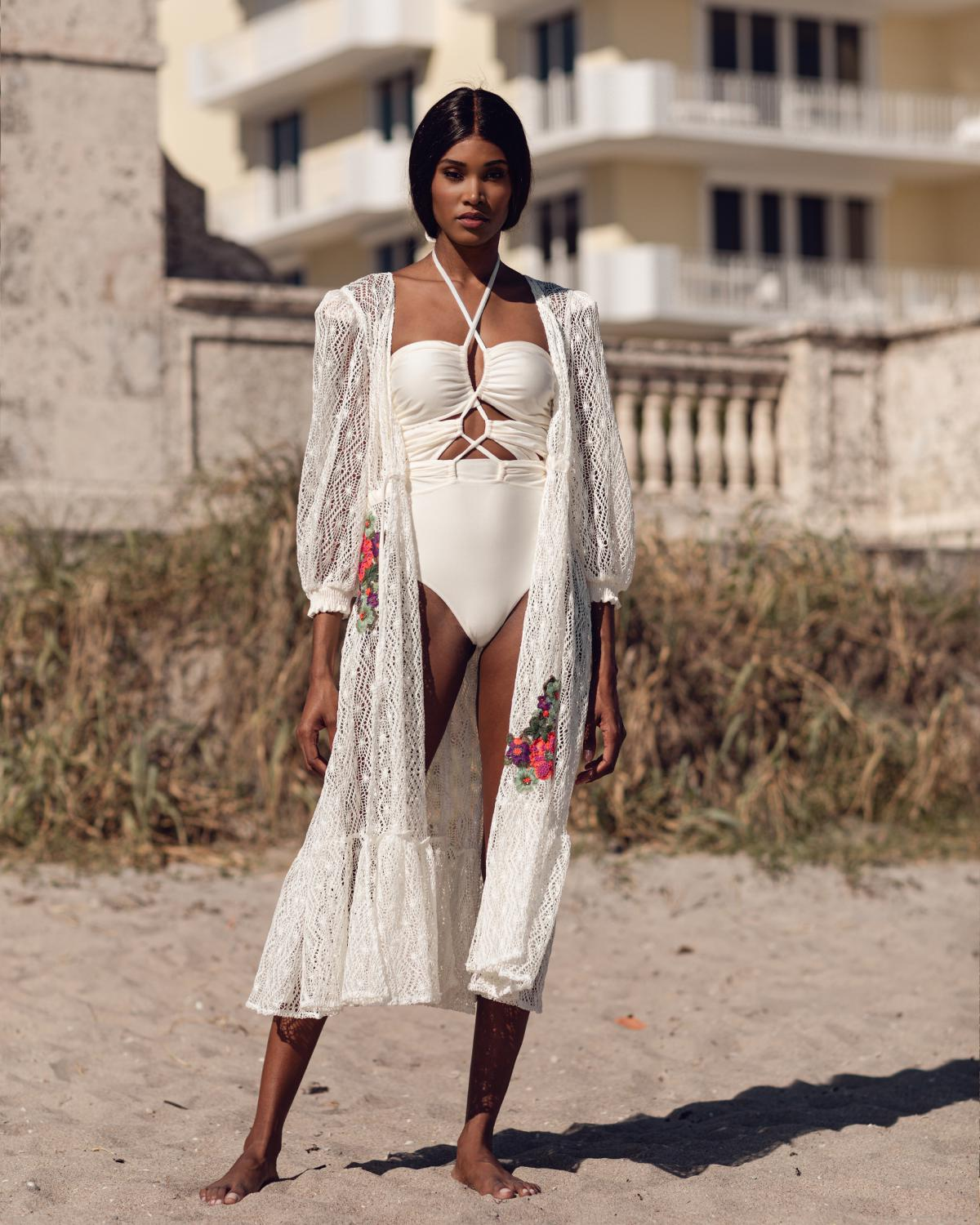 Embroidered Crochet Coverup Dress