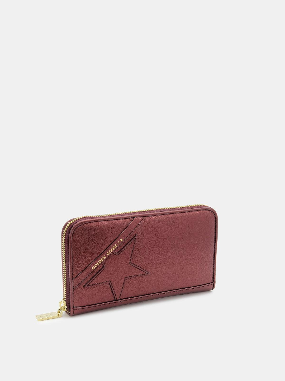 Large burgundy Star Wallet in laminated leather 1