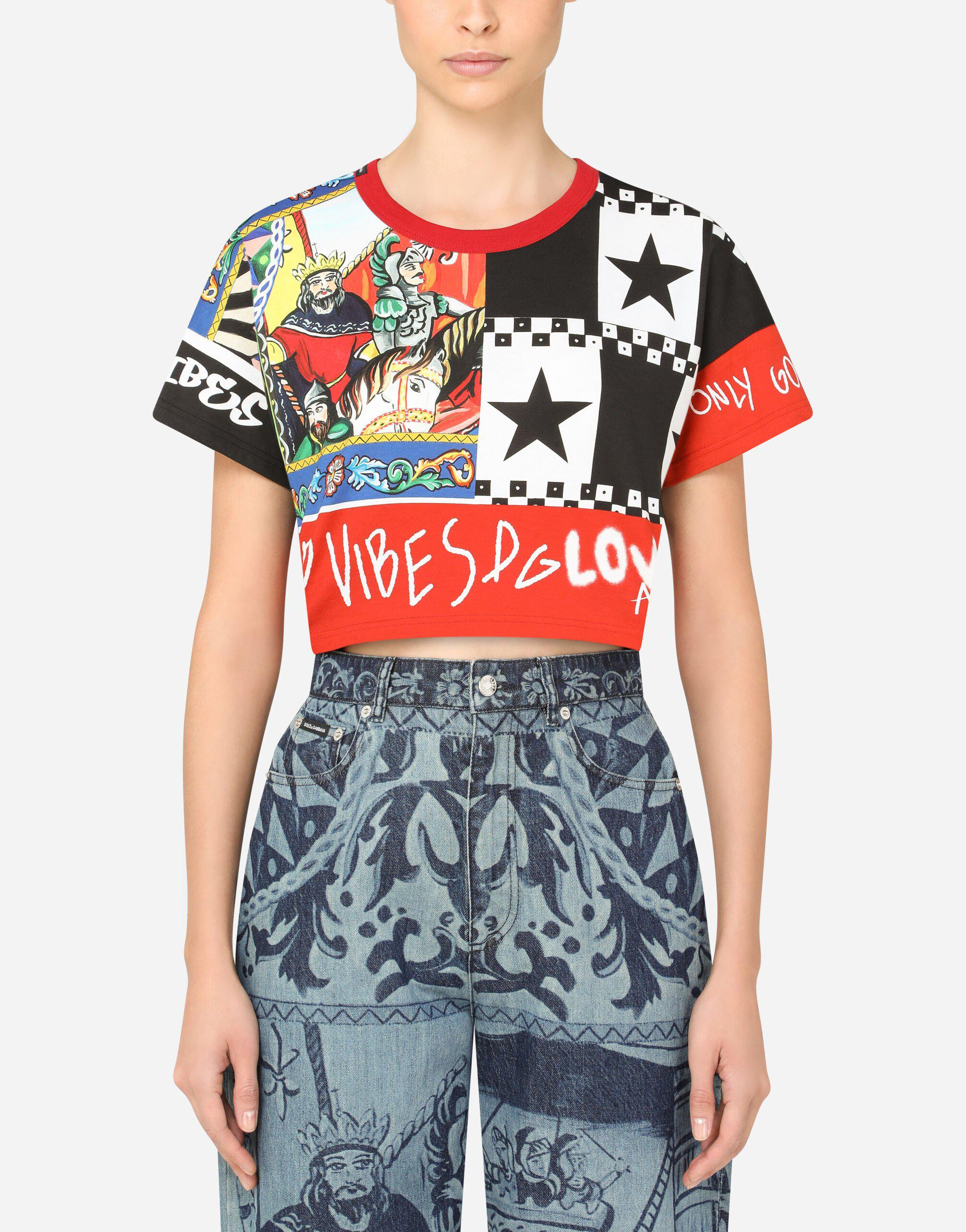 Short jersey t-shirt with patchwork print
