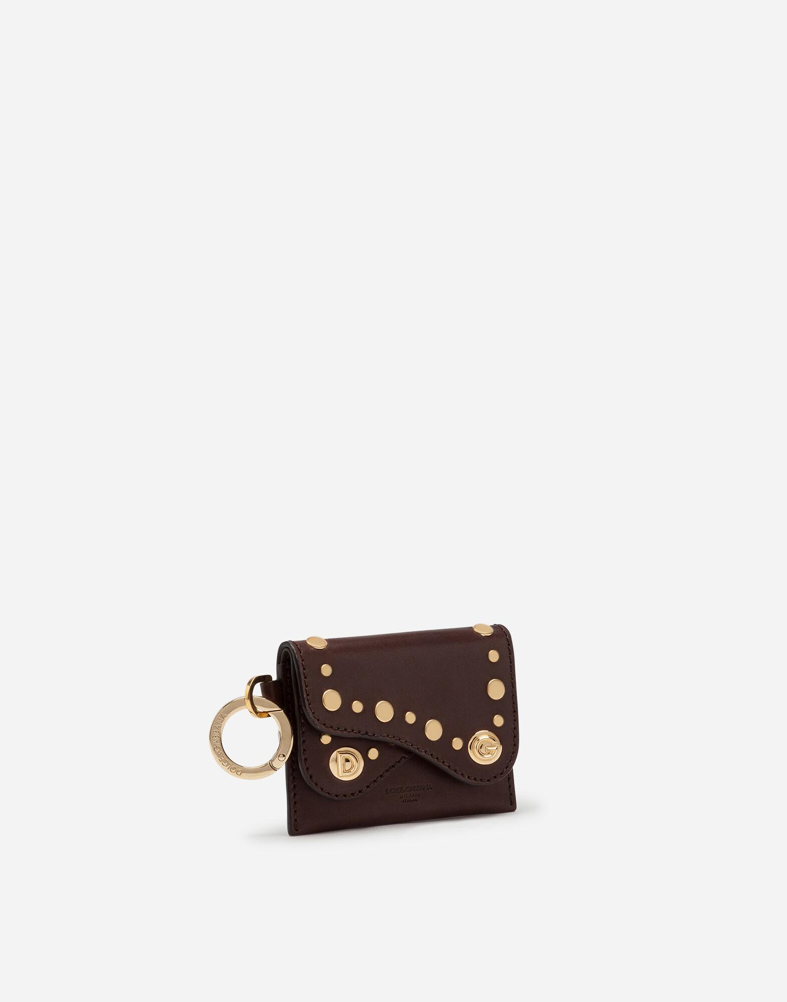 Biker credit card holder in cowhide with stud embroidery 1
