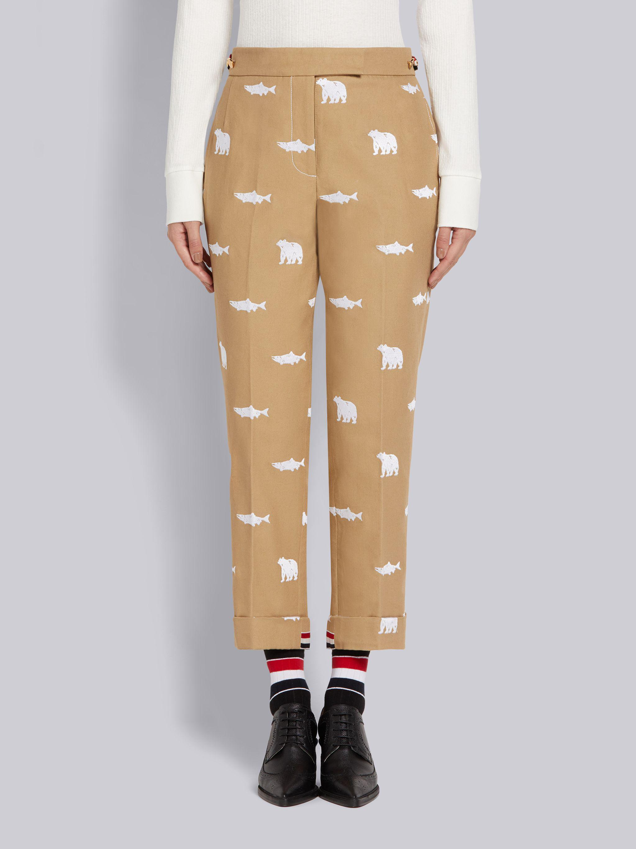 Camel Canvas Bear and Salmon Half Drop Fill Stitch Embroidery Low Rise Side Tab Skinny Trouser