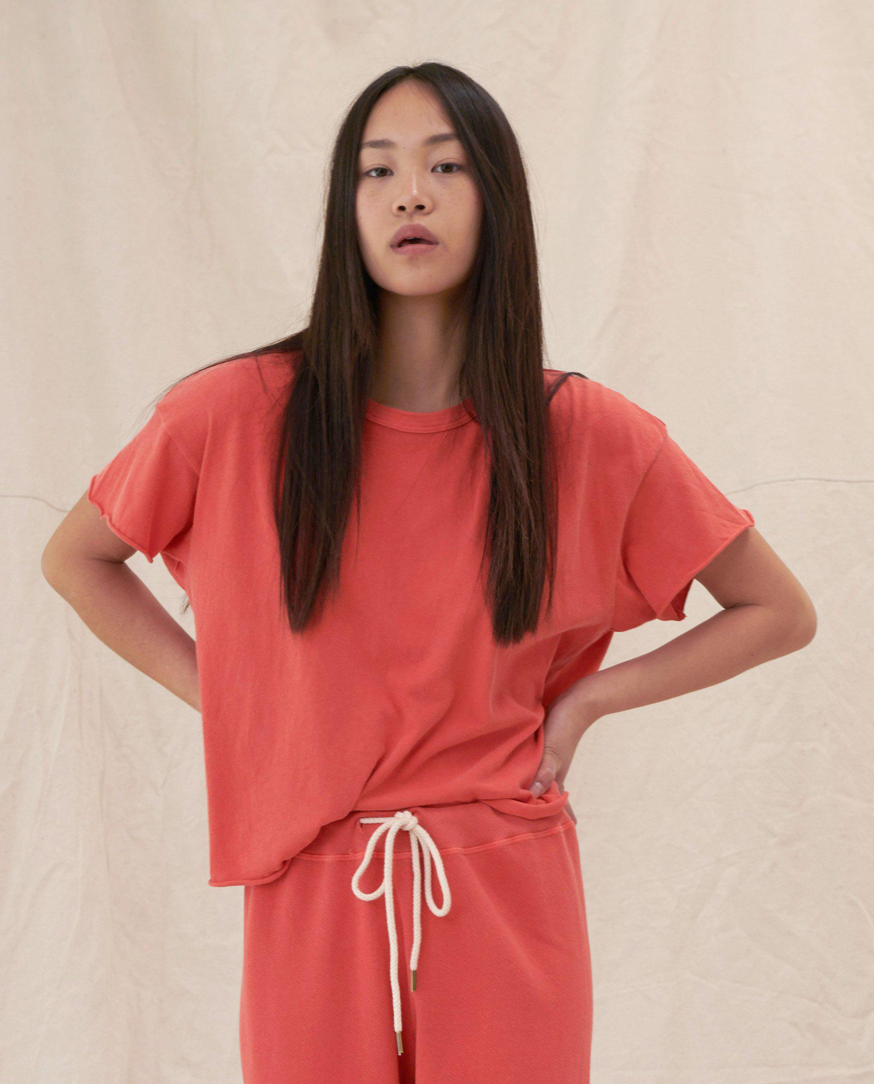 The Crop Tee. Solid -- BARN RED