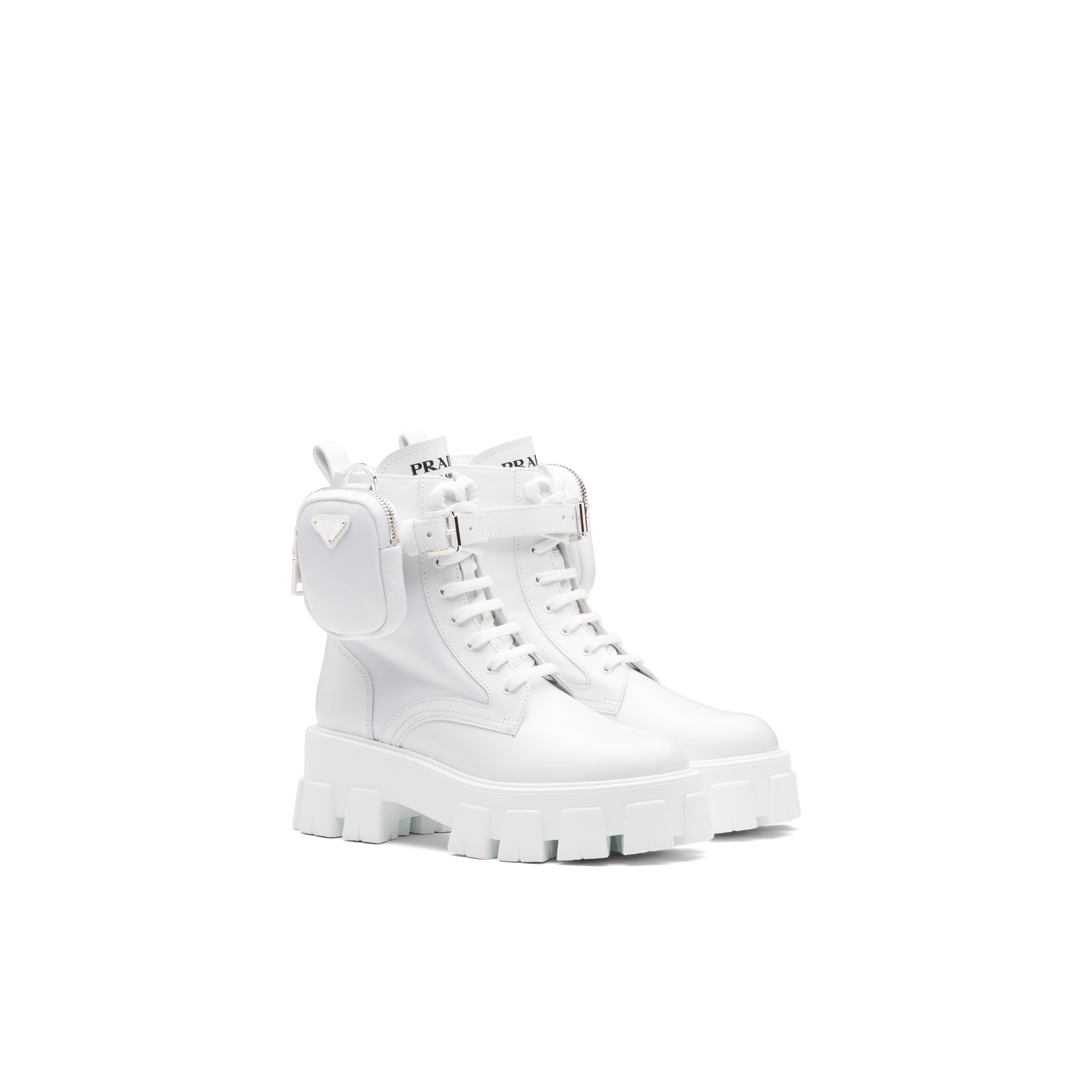 Monolith Brushed Leather And Nylon Booties Women White