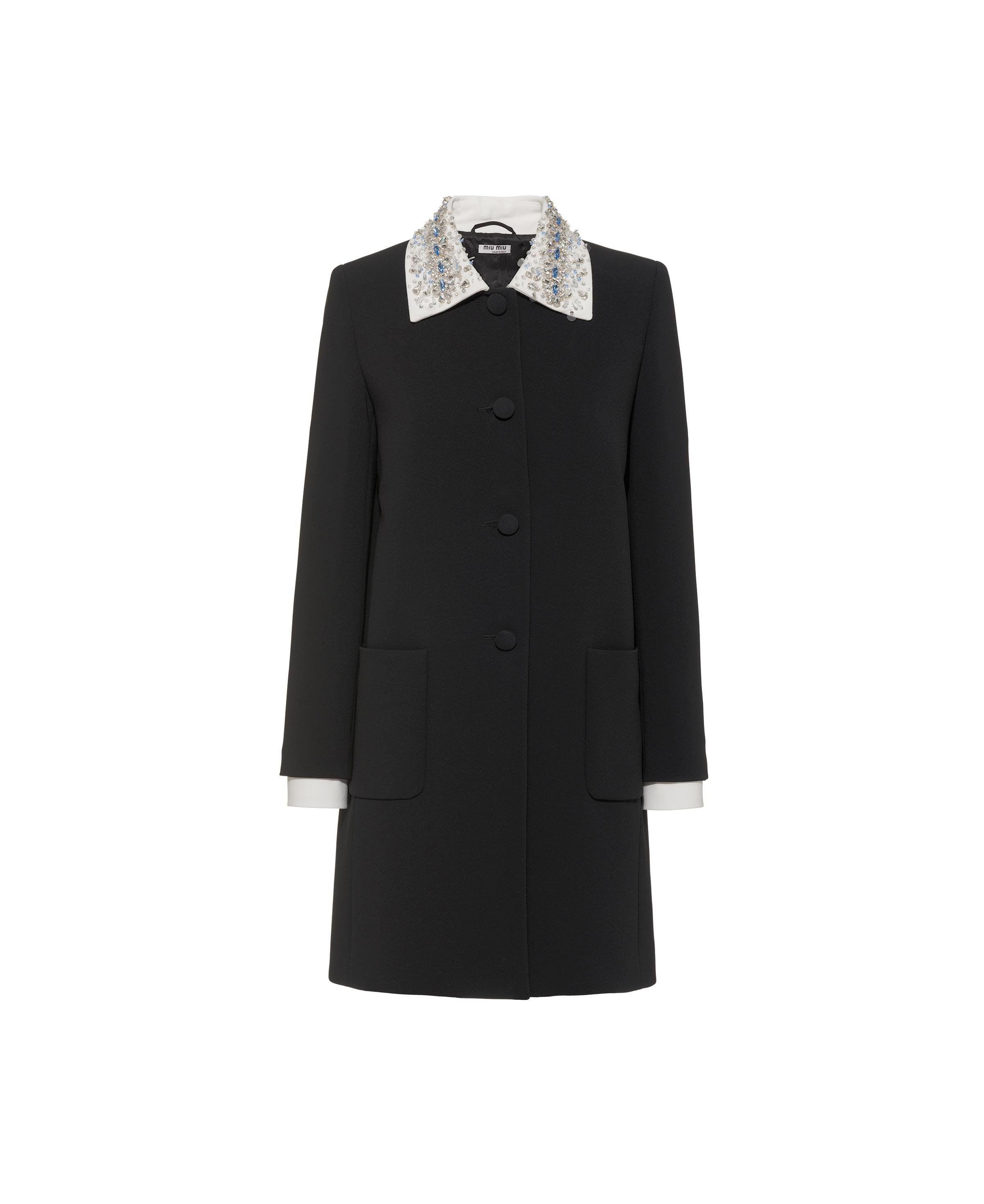 Embroidered Cady Coat Women Black