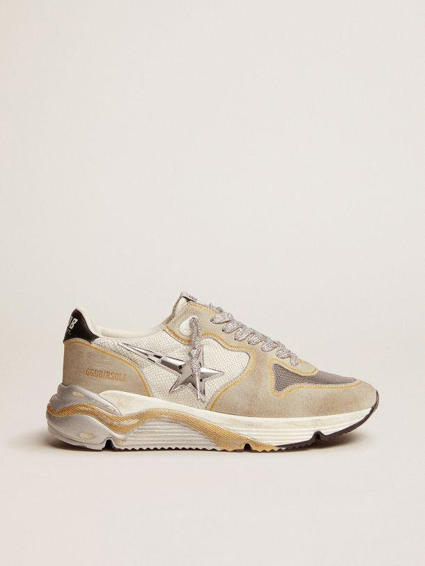 Running Sole LTD sneakers in white snake-print leather and suede with mesh insert