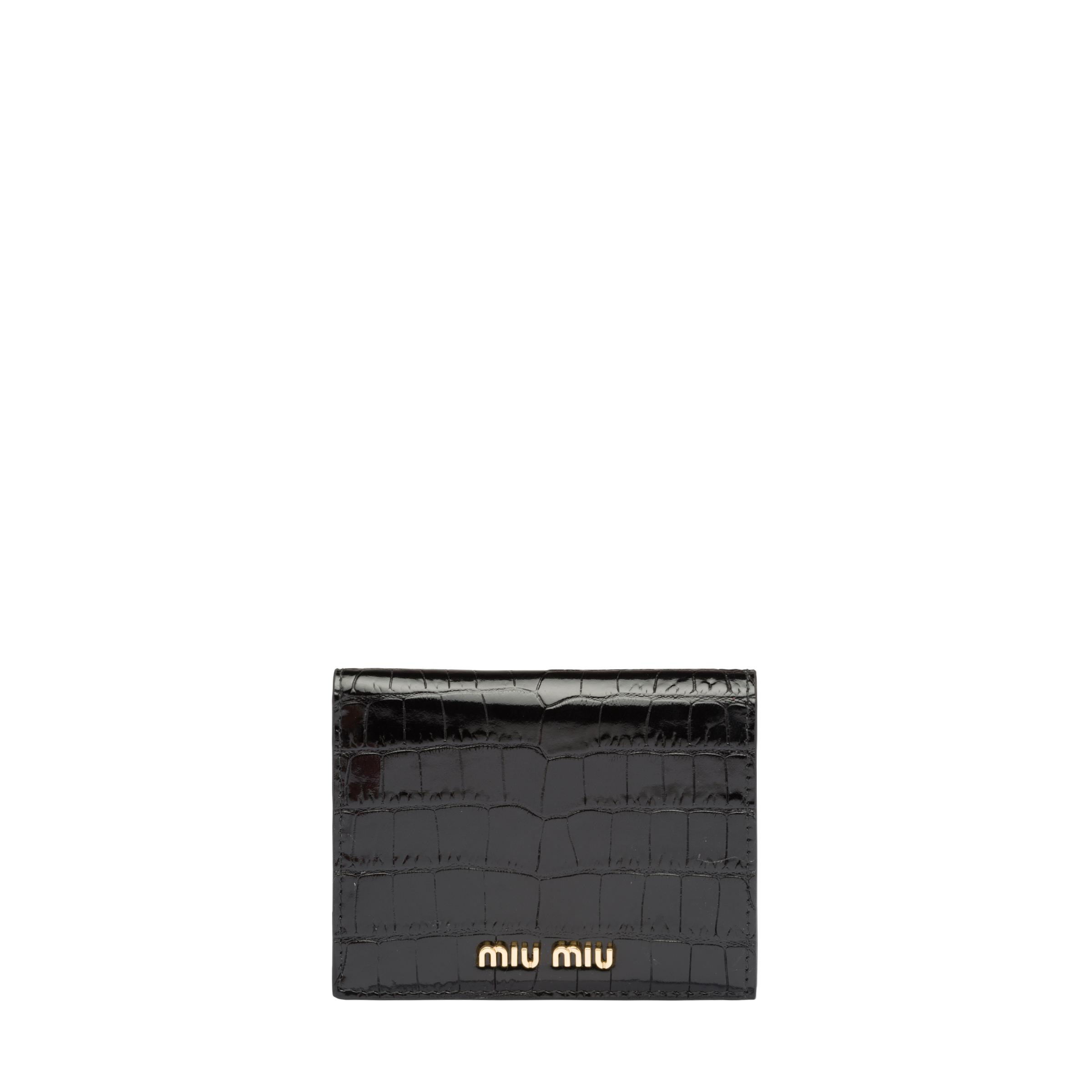 Small Croco-printed Leather Wallet Women Black