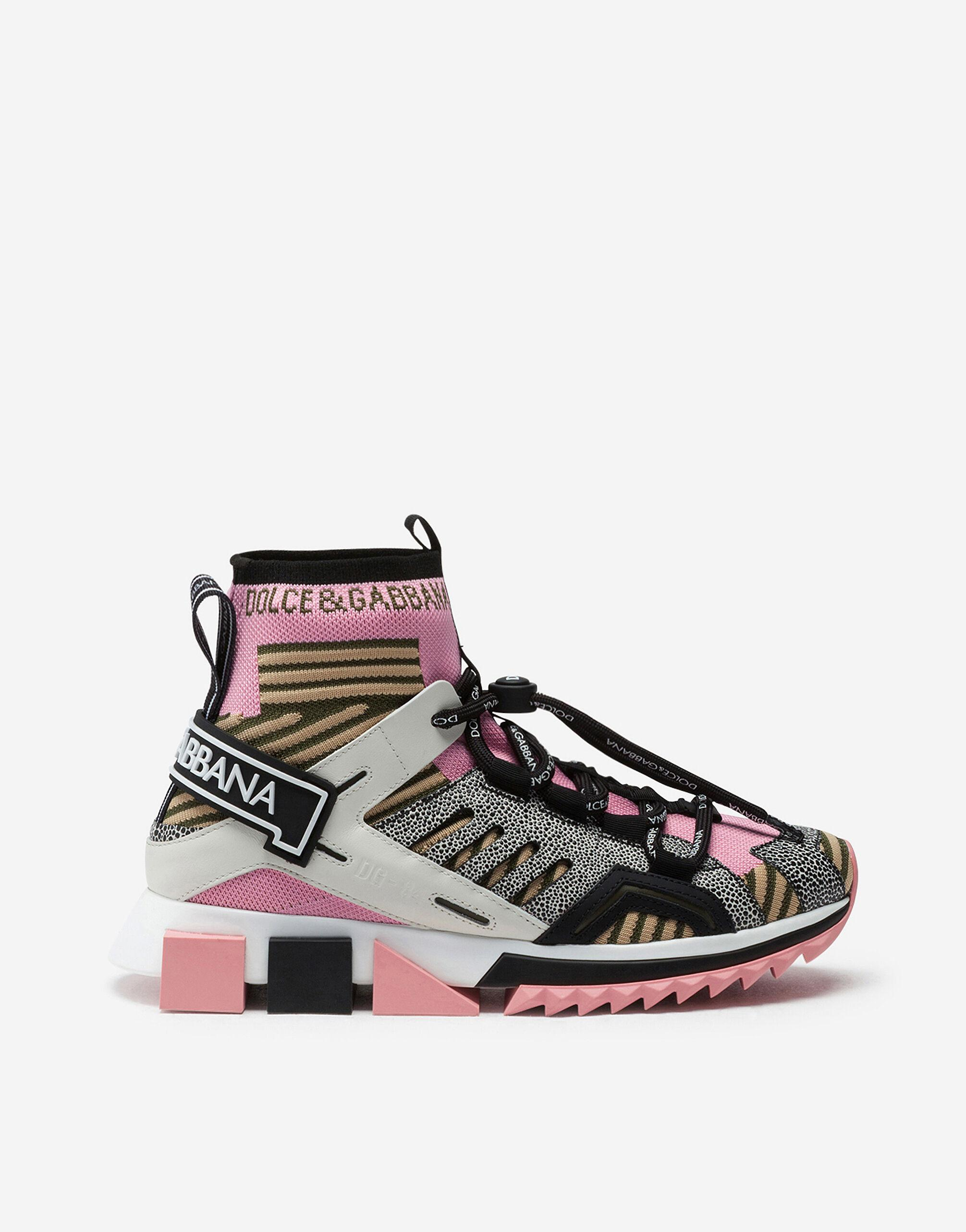 Sorrento high-top trekking sneakers in multi-colored mixed materials