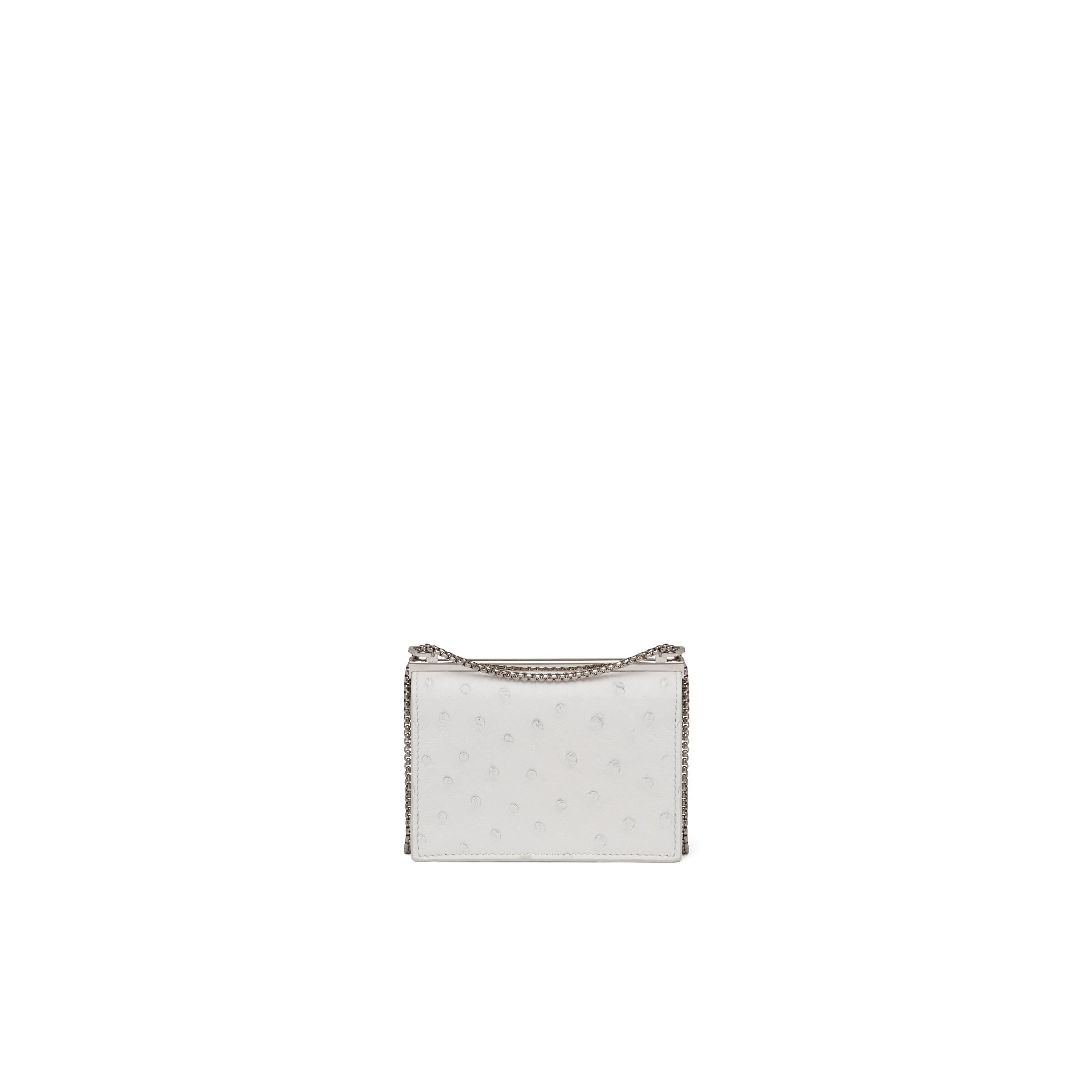 Ostrich Leather Card Holder With Shoulder Strap Women White 2