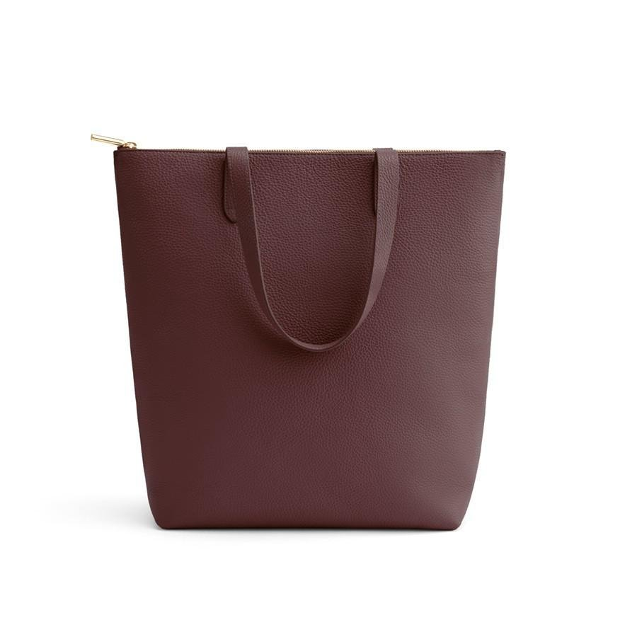Women's Tall Structured Leather Zipper Tote Bag in Burgundy | Pebbled Leather by Cuyana