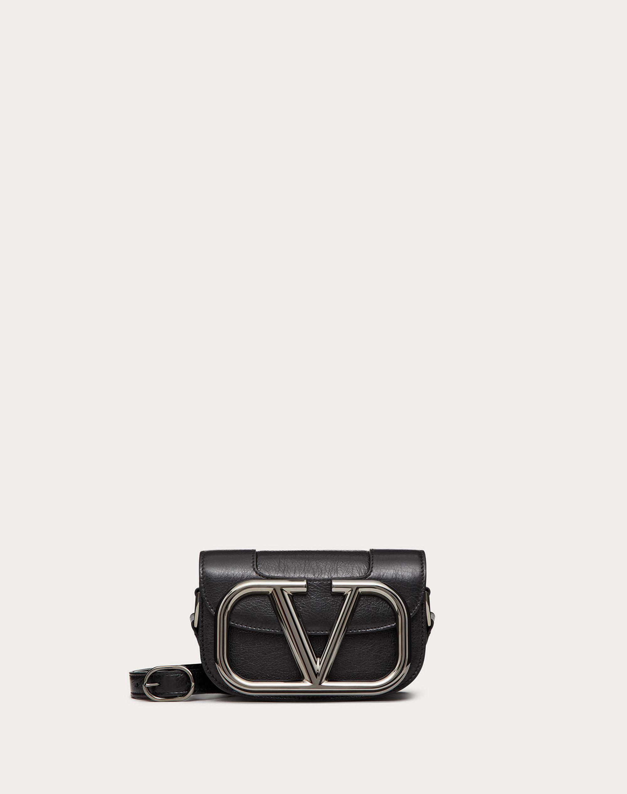 Small Supervee Calfskin Crossbody Bag with Crackle Effect