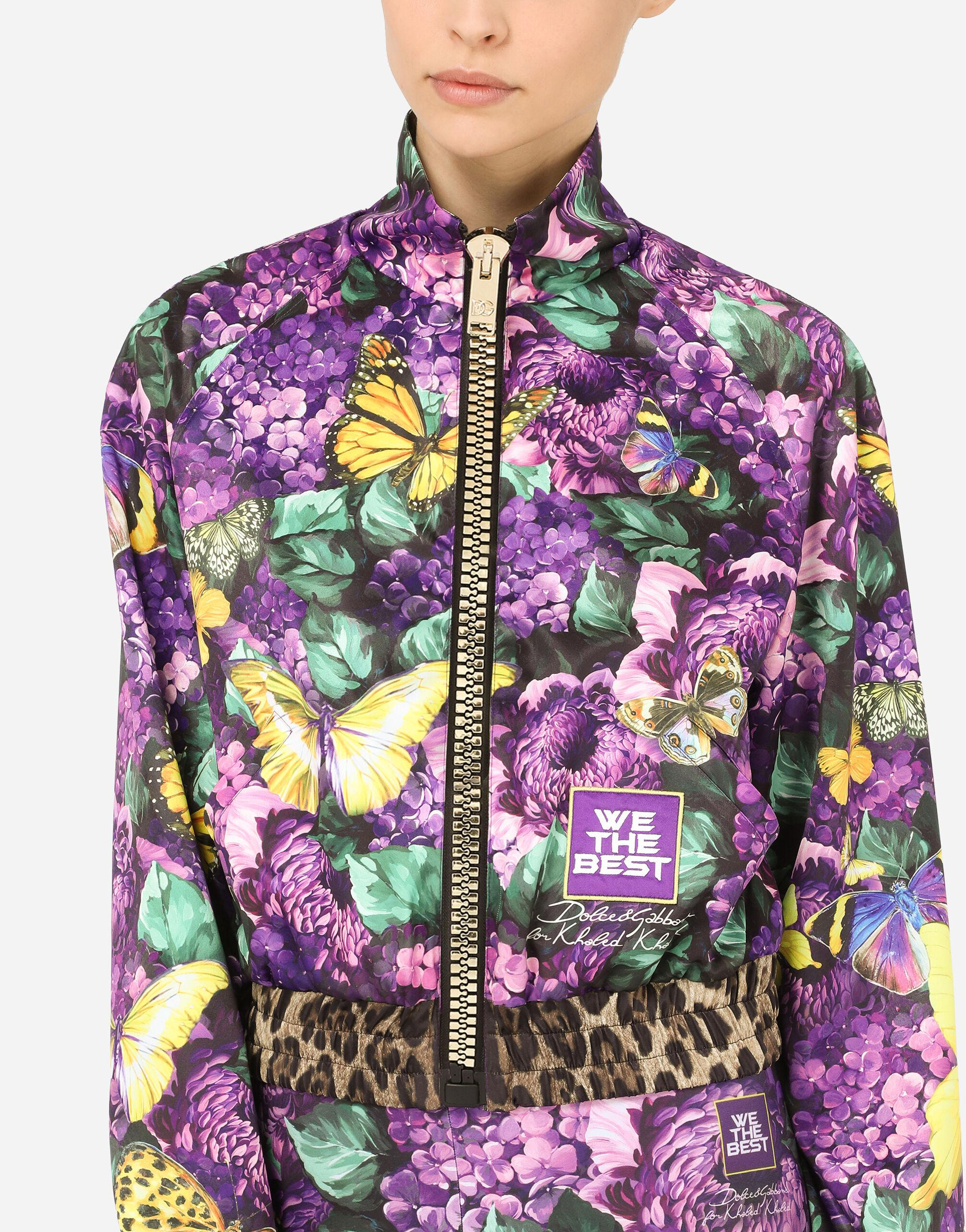 Cropped butterfly-print bomber jacket 6